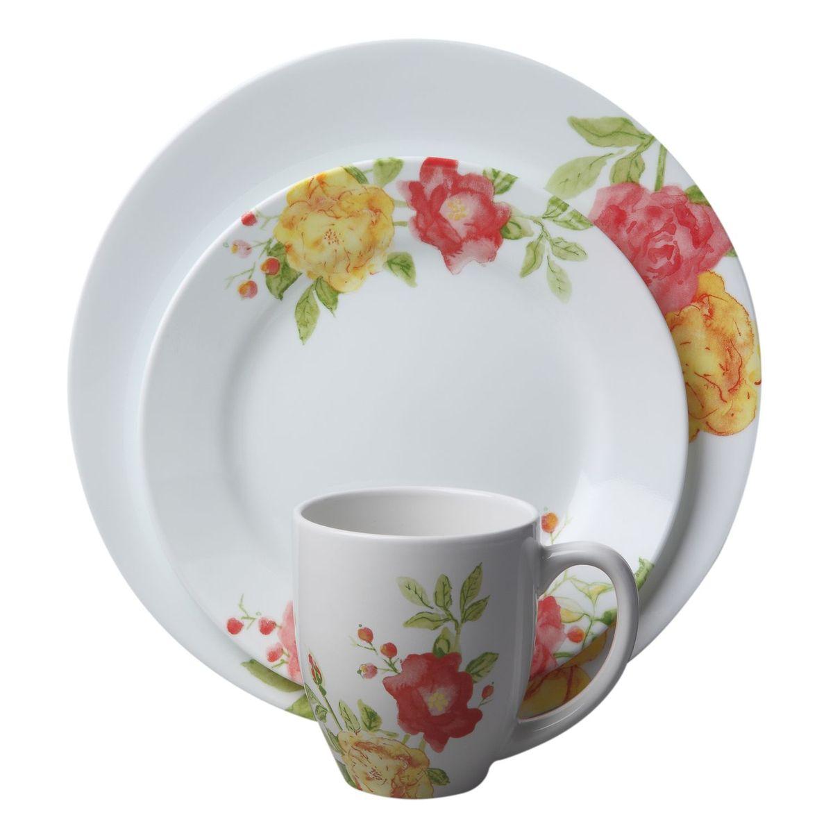 Набор посуды Emma Jane 16пр, цвет: белый с рисунком1114336Преимуществами посуды Corelle являются долговечность, красота и безопасность в использовании. Вся посуда Corelle изготавливается из высококачественного ударопрочного трехслойного стекла Vitrelle и украшена деколями американских и европейских дизайнеров. Рисунки не стираются и не царапаются, не теряют свою яркость на протяжении многих лет. Посуда Corelle не впитывает запахов и очень долгое время выглядит как новая. Уникальная эмаль, используемая во время декорирования, фактически становится единым целым с поверхностью стекла, что гарантирует долгое сохранение нанесенного рисунка. Еще одним из главных преимуществ посуды Corelle является ее безопасность. В производстве используются только безопасные для пищи пигменты эмали, при производстве посуды не применяется вредный для здоровья человека меламин. Изделия из материала Vitrelle: Прочные и легкие; Выдерживают температуру до 180С; Могут использоваться в посудомоечной машине и микроволновой печи; Штабелируемые; Устойчивы к царапинам; Ударопрочные; Не содержит меламин.4 обеденные тарелки 27 см; 4 закусочные тарелки 22 см; 4 суповые торелки 530 мл; 4 фарфоровые кружки 380 мл