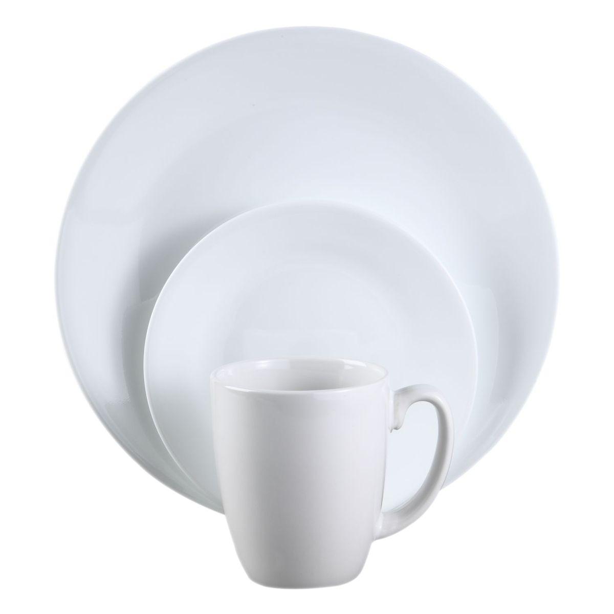 Набор столовой посуды Corelle Winter Frost White, 16 предметов6022003Набор Corelle Winter Frost White состоит из 4 суповых тарелок, 4 обеденныхтарелок, 4 десертных тарелок и 4 кружек. Изделия выполнены извысококачественного стекла и фарфора. Посуда не впитывает запахи и очень долгое время выглядит как новая. Она отличается прочностью,гигиеничностью и устойчива к появлению царапин. Еще одним из главных преимуществ посуды является ее безопасность. В производстве используются только безопасные для пищи пигменты эмали, при производстве посуды не применяется вредный для здоровья человека меламин. Такой набор прекрасно подойдет как для повседневного использования, так идля праздников или особенных случаев. Набор столовой посуды Corelle Winter Frost White - это не только яркий иполезный подарок для родных и близких, а также великолепное дизайнерскоерешение для вашей кухни или столовой. Диаметр суповой тарелки (по верхнему краю): 15,8 см. Высота суповой тарелки: 5 см.Объем суповой тарелки: 532 мл.Диаметр обеденной тарелки (по верхнему краю): 26 см. Высота обеденной тарелки: 2 см. Диаметр десертной тарелки (по верхнему краю): 17 см. Высота десертной тарелки: 1,8 см. Объем кружки: 325 мл.Диаметр чашки (по верхнему краю): 8,5 см.Высота чашки: 10 см.