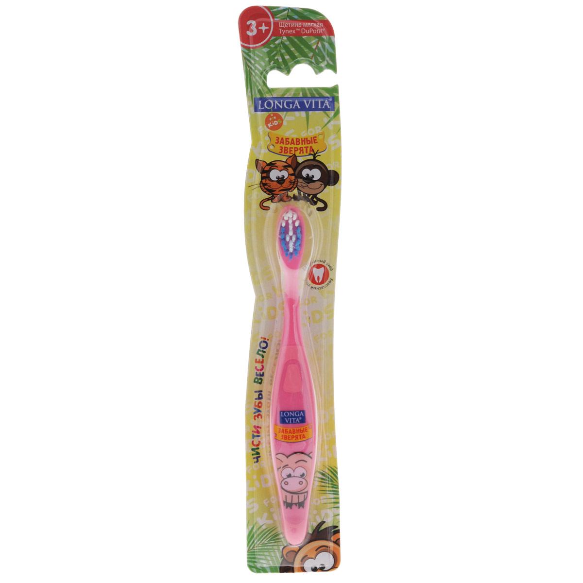 Детская зубная щетка Longa Vita Забавные зверята, цвет: розовый115552 розовыйДетская зубная щетка Longa Vita Забавные зверята идеальна для детского ротика. Щетка имеет эргономичную ручку с противоскользящей поверхностью, небольшую чистящую головку и цветовое поле мягкой щетины для оптимального дозирования пасты. Ручка оформлена изображением хрюшки.