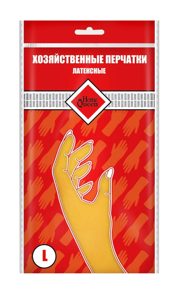 Перчатки латексные Home Queen. Размер L. 5372953729Перчатки Home Queen защитят ваши руки от воздействия бытовой химии и грязи. Подойдут для всех видов хозяйственных работ. Выполнены из латекса.