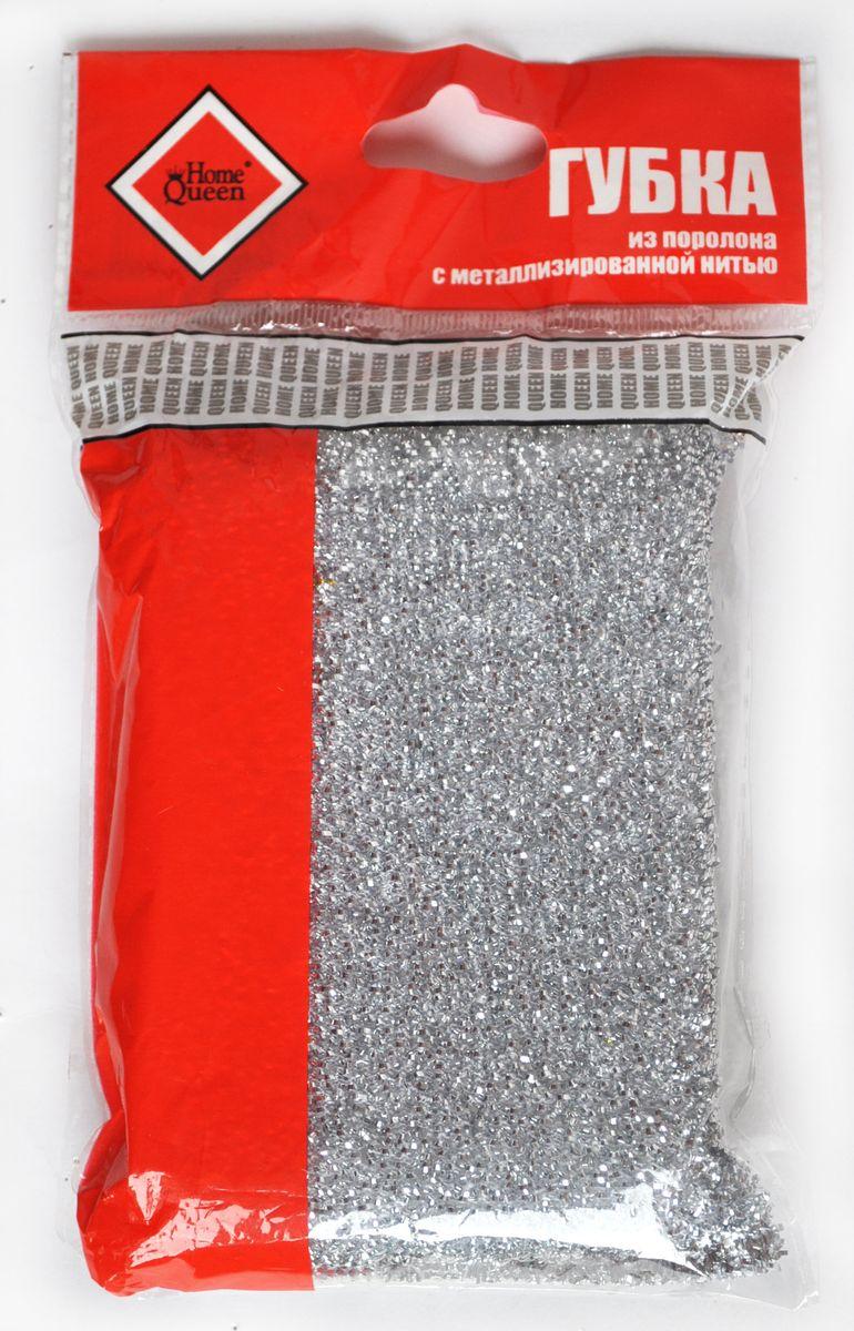 Губка для мытья посуды Home Queen, с металлизированной нитью, цвет: серебристый, 12 х 9 х 2 см37Губка для мытья посуды Home Queen изготовлена из поролона в чехле из полипропиленовой металлизированной нити. Предназначена для мытья посуды и очистки сильно загрязненных кухонных поверхностей. Удобна в применении. Позволяет экономить моющее средство, благодаря структуре поролона, который дает много пены при использовании.