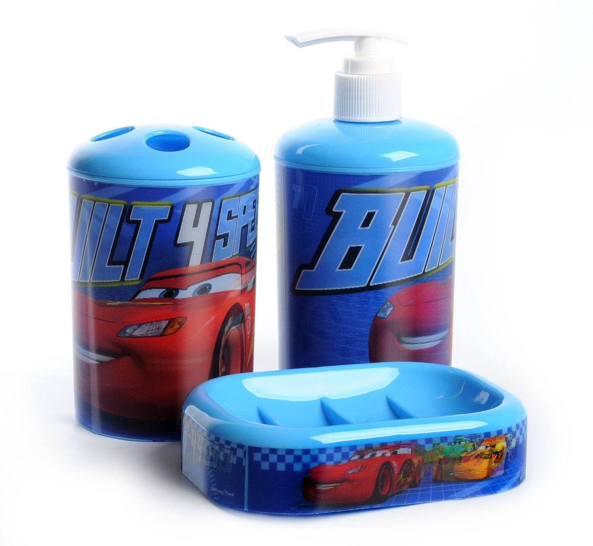 Набор для ванной комнаты Disney Тачки, цвет: голубой, 3 предмета
