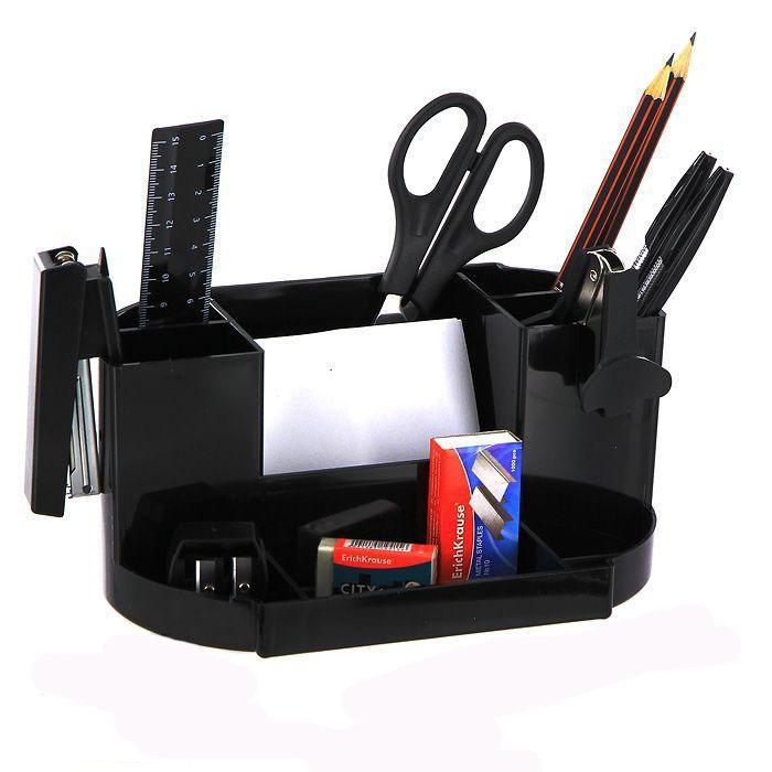 Набор настольный Erich Krause  Виктория , цвет: черный, 15 предметов - Органайзеры, настольные наборы