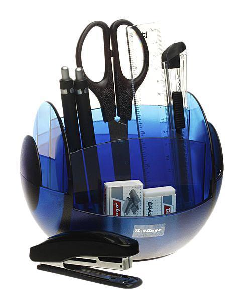 Органайзер настольный Berlingo FR 9 предметов вращающийся Синий berlingo ножницы universal 18 см