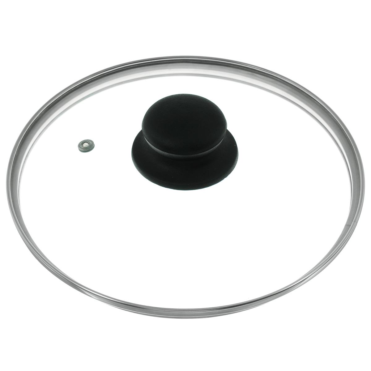 Крышка изготовлена из термостойкого стекла. Обод,  выполненный из высококачественной нержавеющей стали, защищает крышку от  повреждений, а ручка, выполненная из термостойкого пластика, защищает ваши  руки от высоких температур. Изделие оснащено пароотводом. Крышка удобна в  использовании и позволяет контролировать процесс приготовления пищи без потери тепла. Можно мыть в посудомоечной машине.