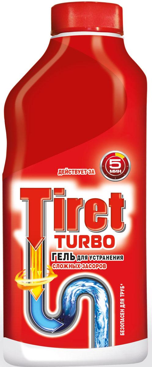 """Чистящее средство """"Tiret Turbo"""" предназначено для очистки канализационных труб. Гель устраняет засоры в трубах за 5 минут, а также дезинфицирует.  Безопасен для всех металлических и пластиковых труб.     Характеристики: Объем: 500 мл. Изготовитель: Россия. Товар сертифицирован.    Как выбрать качественную бытовую химию, безопасную для природы и людей. Статья OZON Гид"""