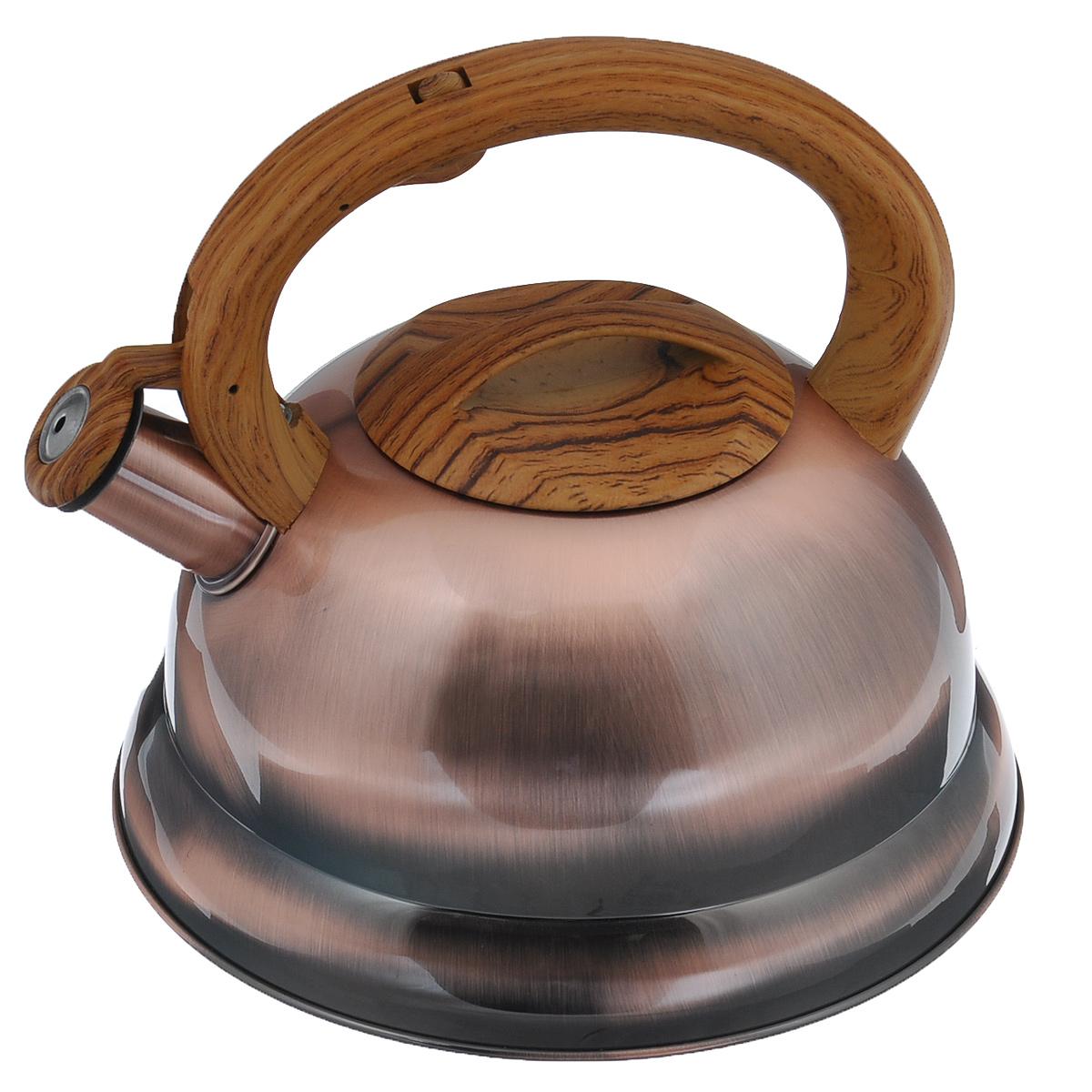 Чайник Bekker Koch со свистком, цвет: золотистый, 3,5 л. BK-S413 термос bekker koch с помпой 2 5 л bk 4033