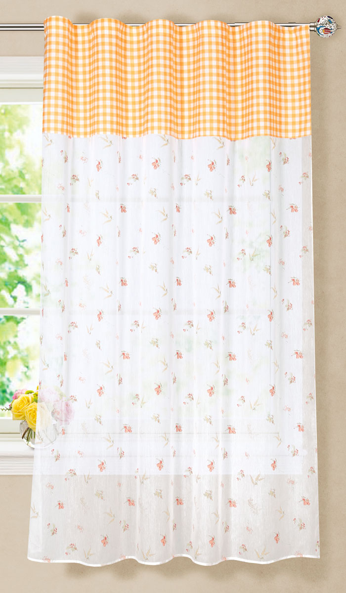 Штора готовая для кухни Garden со вставкой, на ленте, цвет: оранжевый, размер 150*180 см. С 7235 - W356 - W1687 V2С 7235 - W356 - W1687 V2Готовая тюлевая штора для гостиной Garden выполнена из микро батиста (100% полиэстера) с изящным цветочным принтом и декорирована текстильной вставкой с принтом в клетку. Полупрозрачность материала, вуалевая текстура и нежная цветовая гамма привлекут к себе внимание и органично впишутся в интерьер комнаты. Штора крепится на карниз при помощи ленты, которая поможет красиво и равномерно задрапировать верх. Штора Garden великолепно украсит любое окно.Стирка при температуре 30°С.