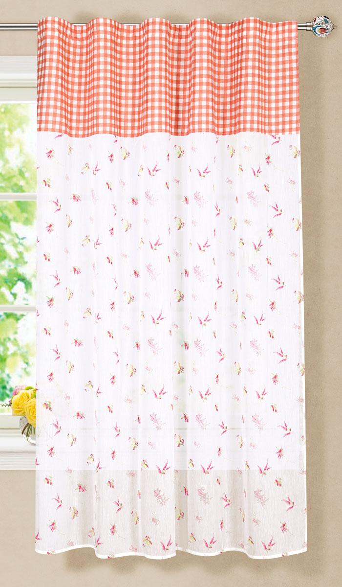 Штора готовая для гостиной Garden, на ленте, цвет: красный, размер 150*180 см. С 7235 - W356 - W1687 V3С 7235 - W356 - W1687 V3Готовая тюлевая штора для гостиной Garden выполнена из микро батиста (100% полиэстера) с изящным цветочным принтом и декорирована текстильной вставкой с принтом в клетку. Полупрозрачность материала, вуалевая текстура и нежная цветовая гамма привлекут к себе внимание и органично впишутся в интерьер комнаты. Штора крепится на карниз при помощи ленты, которая поможет красиво и равномерно задрапировать верх. Штора Garden великолепно украсит любое окно.Стирка при температуре 30°С.