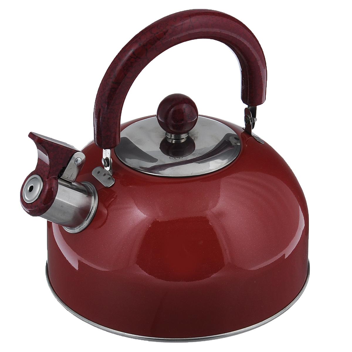 Чайник Mayer & Boch Modern со свистком, цвет: красный, 2 л. МВ-3226МВ-3226Чайник Mayer & Boch Modern изготовлен из высококачественной нержавеющей стали. Гладкая и ровная поверхность существенно облегчает уход. Он оснащен удобной нейлоновой ручкой, которая не нагревается даже при продолжительном периоде нагрева воды. Носик чайника имеет насадку-свисток, что позволит вам контролировать процесс подогрева или кипячения воды. Выполненный из качественных материалов чайник Mayer & Boch Modern при кипячении сохраняет все полезные свойства воды. Чайник пригоден для использования на всех типах плит, кроме индукционных. Можно мыть в посудомоечной машине.Диаметр чайника по верхнему краю: 8,5 см.Диаметр основания: 19 см.Высота чайника (без учета ручки и крышки): 10 см.УВАЖАЕМЫЕ КЛИЕНТЫ!Обращаем ваше внимание на тот факт, что указан максимальный объем чайника с учетом полного наполнения до кромки. Объем чайника с учетом наполнения до уровня носика составляет 1,5 литра.
