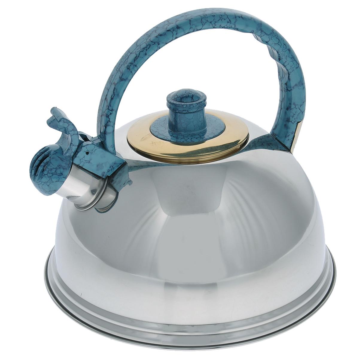 Чайник Mayer & Boch, со свистком, цвет: голубой, 2,7 л. 2359423594Чайник Mayer & Boch выполнен из нержавеющей стали высокой прочности с зеркальной полировкой. Чайник оснащен откидным свистком, который громко оповестит о закипании воды. Удобная эргономичная ручка и крышка выполнены из нейлона. Такой чайник идеально впишется в интерьер любой кухни и станет замечательным подарком к любому случаю. Подходит для всех типов плит, кроме индукционных. Можно мыть в посудомоечной машине.Диаметр чайника по верхнему краю: 8,5 см.Высота чайника (с учетом ручки): 21 см.