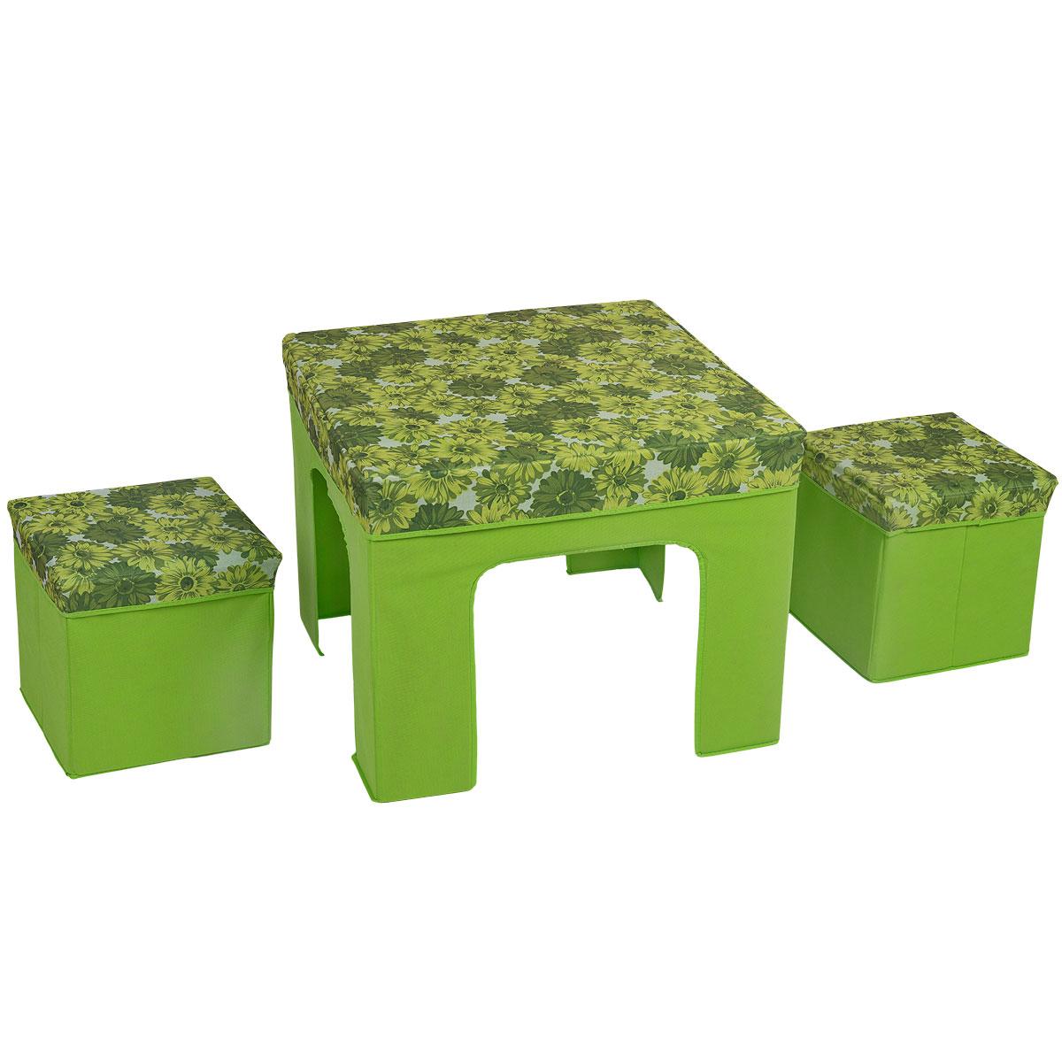 Набор складной мебели Orange, 3 предмета, цвет: зеленый82305Набор складной мебели Orange изготовлен из МДФ, оксфорда и спанбода. Набор предназначен для использования внутри помещений, на отдыхе, пикнике. Мебель компактна и удобно складывается. Набор складной мебели может послужить отличным подарком любому дачнику, охотнику и рыбаку. Любой, отдыхающий за городом человек, позавидует вам, увидев этот набор складной мебели. Максимальная нагрузка стола: 25 кг. Максимальная нагрузка пуфика: 100 кг. Размер стола: 60 см х 60 см. Размер пуфика: 30 см х 30 см.