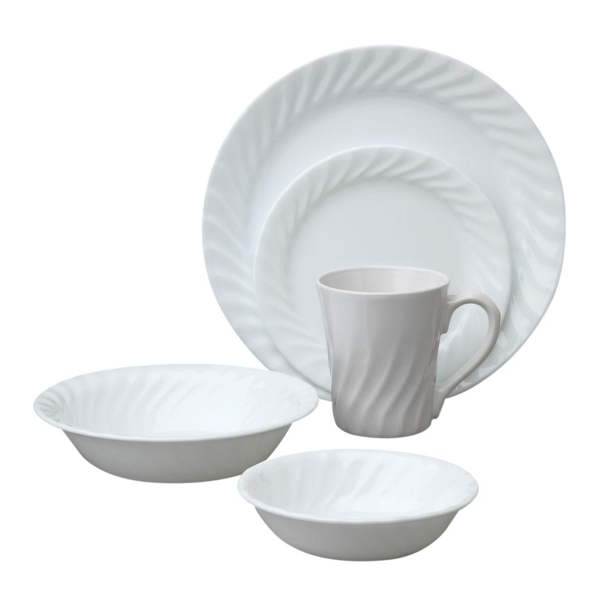 Набор посуды Enhancements 30пр, цвет: белый1088660Преимуществами посуды Corelle являются долговечность, красота и безопасность в использовании. Вся посуда Corelle изготавливается из высококачественного ударопрочного трехслойного стекла Vitrelle и украшена деколями американских и европейских дизайнеров. Рисунки не стираются и не царапаются, не теряют свою яркость на протяжении многих лет. Посуда Corelle не впитывает запахов и очень долгое время выглядит как новая. Уникальная эмаль, используемая во время декорирования, фактически становится единым целым с поверхностью стекла, что гарантирует долгое сохранение нанесенного рисунка. Еще одним из главных преимуществ посуды Corelle является ее безопасность. В производстве используются только безопасные для пищи пигменты эмали, при производстве посуды не применяется вредный для здоровья человека меламин. Изделия из материала Vitrelle: Прочные и легкие; Выдерживают температуру до 180С; Могут использоваться в посудомоечной машине и микроволновой печи; Штабелируемые; Устойчивы к царапинам; Ударопрочные; Не содержит меламин.6 обеденных тарелок 26 см; 6 десертных тарелок 18 см; 6 Салатник 300 мл; 6 суповых тарелок 530 мл; 6 фарфоровых кружек 270 мл