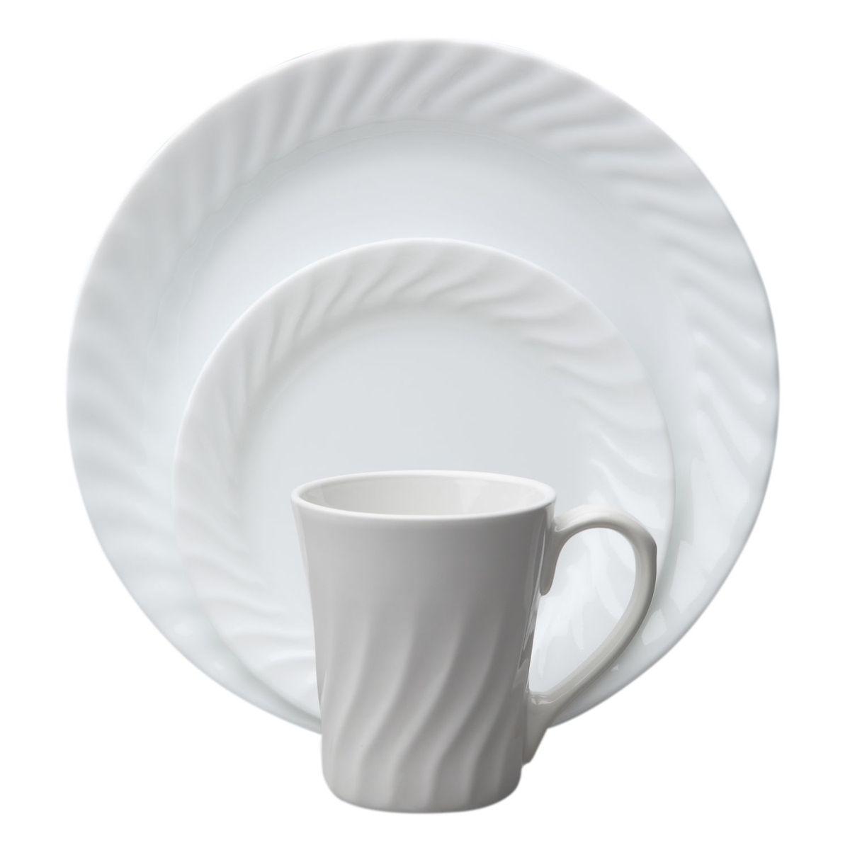 Набор посуды Enhancements 16пр, цвет: белый1086524Преимуществами посуды Corelle являются долговечность, красота и безопасность в использовании. Вся посуда Corelle изготавливается из высококачественного ударопрочного трехслойного стекла Vitrelle и украшена деколями американских и европейских дизайнеров. Рисунки не стираются и не царапаются, не теряют свою яркость на протяжении многих лет. Посуда Corelle не впитывает запахов и очень долгое время выглядит как новая. Уникальная эмаль, используемая во время декорирования, фактически становится единым целым с поверхностью стекла, что гарантирует долгое сохранение нанесенного рисунка. Еще одним из главных преимуществ посуды Corelle является ее безопасность. В производстве используются только безопасные для пищи пигменты эмали, при производстве посуды не применяется вредный для здоровья человека меламин. Изделия из материала Vitrelle: Прочные и легкие; Выдерживают температуру до 180С; Могут использоваться в посудомоечной машине и микроволновой печи; Штабелируемые; Устойчивы к царапинам; Ударопрочные; Не содержит меламин.4 обеденные тарелки 26 см; 4 десертные тарелки 18 см; 4 суповые тарелки 530 мл; 4 фарфоровые кружки 270 мл