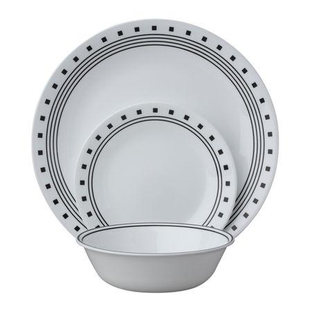 Набор посуды City Block 18пр, цвет: белый с узором1088621Преимуществами посуды Corelle являются долговечность, красота и безопасность в использовании. Вся посуда Corelle изготавливается из высококачественного ударопрочного трехслойного стекла Vitrelle и украшена деколями американских и европейских дизайнеров. Рисунки не стираются и не царапаются, не теряют свою яркость на протяжении многих лет. Посуда Corelle не впитывает запахов и очень долгое время выглядит как новая. Уникальная эмаль, используемая во время декорирования, фактически становится единым целым с поверхностью стекла, что гарантирует долгое сохранение нанесенного рисунка. Еще одним из главных преимуществ посуды Corelle является ее безопасность. В производстве используются только безопасные для пищи пигменты эмали, при производстве посуды не применяется вредный для здоровья человека меламин. Изделия из материала Vitrelle: Прочные и легкие; Выдерживают температуру до 180С; Могут использоваться в посудомоечной машине и микроволновой печи; Штабелируемые; Устойчивы к царапинам; Ударопрочные; Не содержит меламин.6 обеденных тарелок 26 см; 6 закусочных тарелок 22 см; 6 суповых тарелок 530 мл