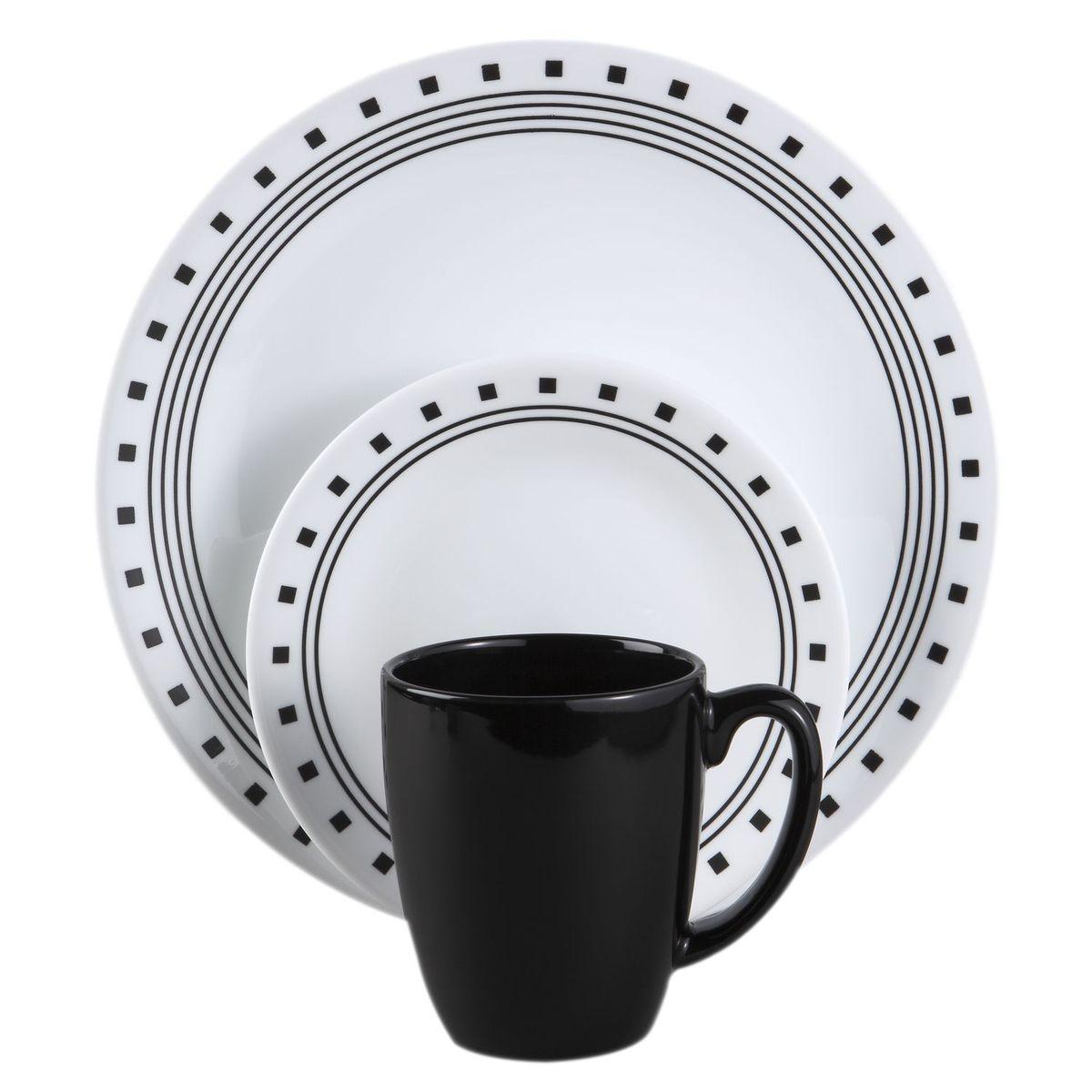 Набор посуды Corelle City Block, цвет: белый, 16 предметов. 10742081074208Набор посуды Corelle City Block выполнен из высококачественного ударопрочного трехслойного стекла Vitrelle и декорирован узором. Рисунки не стираются и не царапаются, не теряют свою яркость на протяжении многих лет. Набор включает: 4 кружки, 4 обеденные тарелки, 4 десертные тарелки, 4 суповые тарелки. Преимуществами посуды Corelle являются долговечность, красота и безопасность в использовании. Посуда Corelle не впитывает запахов и очень долгое время выглядит как новая. Уникальная эмаль, используемая во времядекорирования, фактически становится единым целым с поверхностью стекла, что гарантирует долгое сохранение нанесенного рисунка. Еще одним из главных преимуществ посуды Corelle является ее безопасность. Впроизводстве используются только безопасные для пищи пигменты эмали, при производстве посуды не применяется вредный для здоровья человека меламин. Такой набор непременно украсит ваш праздничный стол.Предметы набора допустимо использовать в микроволновой печи и мыть в посудомоечной машине.Диаметр обеденной тарелки: 26 см. Высота обеденной тарелки: 2 см. Диаметр десертной тарелки: 17 см. Высота десертной тарелки: 2 см. Диаметр суповой тарелки: 16 см. Высота суповой тарелки: 4,5 см. Объем суповой тарелки: 530 мл. Диаметр кружки (по верхнему краю): 8,5 см. Высота стенок кружки: 10 см. Объем кружки: 325 мл.