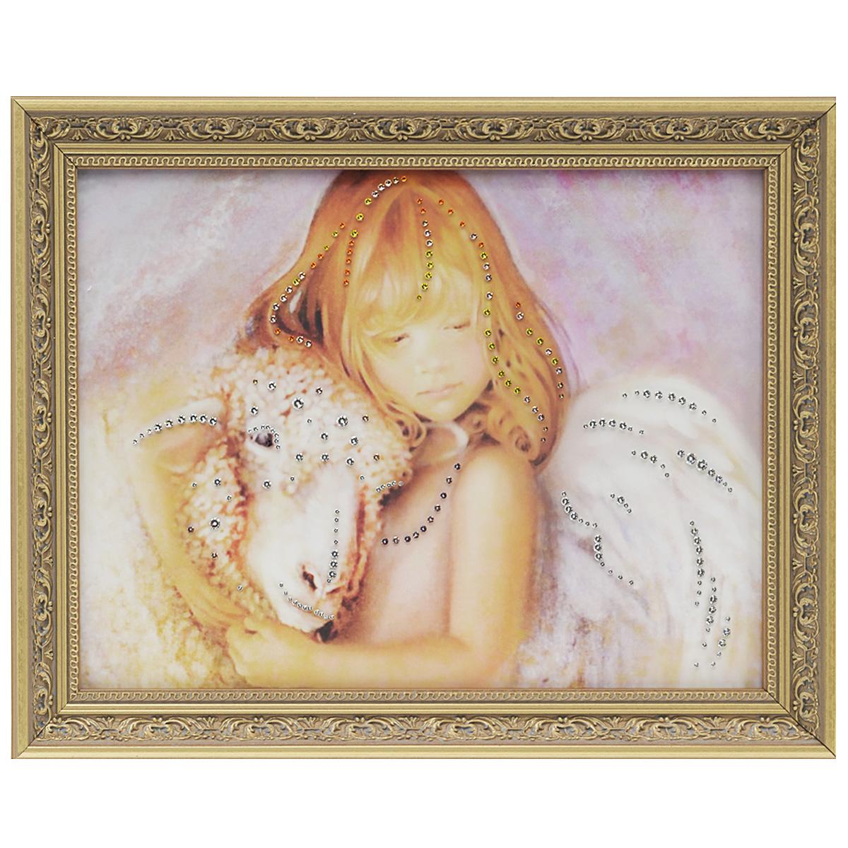 Картина с кристаллами Swarovski Нежность, 47 см х 37 см1549Изящная картина в багетной раме, инкрустирована кристаллами Swarovski, которые отличаются четкой и ровной огранкой, ярким блеском и чистотой цвета. Красочное изображение овечки, расположенное под стеклом, прекрасно дополняет блеск кристаллов. С обратной стороны имеется металлическая петелька для размещения картины на стене. Картина с кристаллами Swarovski Нежность элегантно украсит интерьер дома или офиса, а также станет прекрасным подарком, который обязательно понравится получателю. Блеск кристаллов в интерьере, что может быть сказочнее и удивительнее. Картина упакована в подарочную картонную коробку синего цвета и комплектуется сертификатом соответствия Swarovski. Количество кристаллов: 204 шт. Размер картины: 37 см х 47 см.