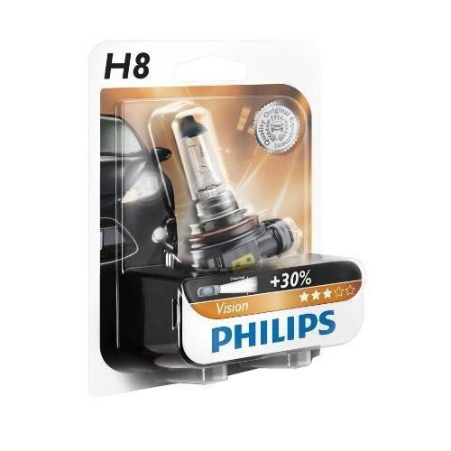 Лампа автомобильная галогенная Philips Vision, для фар, цоколь H8 (PGJ19-1), 12V, 35W12360B1 (бл.)Автомобильная галогенная лампа Philips Vision произведена из запатентованного кварцевого стекла с УФ фильтром Philips Quartz Glass. Кварцевое стекло Philips в отличие от обычного твердого стекла выдерживает гораздо большее давление смеси газов внутри колбы, что препятствует быстрому испарению вольфрама с нити накаливания. Кварцевое стекло выдерживает большой перепад температур, при попадании влаги на работающую лампу изделие не взрывается и продолжает работать. Лампы Philips Vision дают на 30% больше света по сравнению со стандартными лампами. Они создают превосходный световой поток, отличаются приемлемой ценой и соответствуют стандартам качества для оригинального оборудования. Благодаря улучшенному распределению света лампы Philips Vision способны освещать дорогу на большем расстоянии, повышая безопасность и комфорт вождения. Автомобильные галогенные лампы Philips удовлетворят все нужды автомобилистов: дальний свет, ближний свет, передние противотуманные фары, передние и боковые указатели поворота, задние указатели поворота, стоп-сигналы, фонари заднего хода, задние противотуманные фонари, освещение номерного знака, задние габаритные/стояночные фонари, освещение салона.