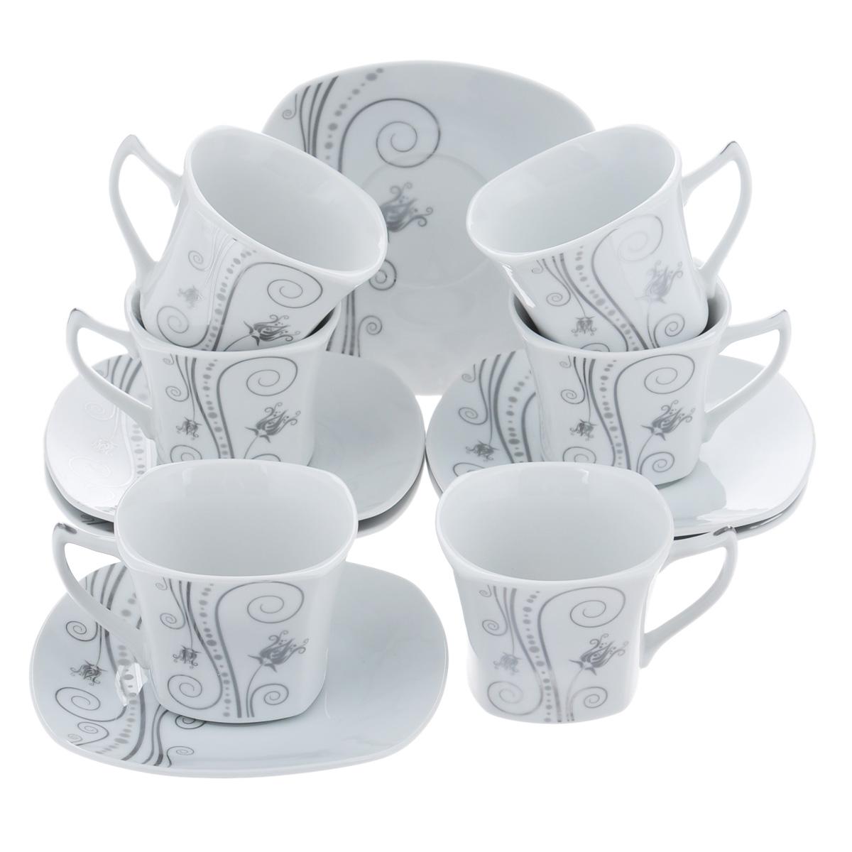 Набор чайный Bekker, 12 предметов. BK-5983BK-5983Чайный набор Bekker состоит из шести чашек и шести блюдец. Предметы набора изготовлены из высококачественного фарфора белого цвета и украшены серебристой эмалью. Изящный орнамент придает набору стильный внешний вид. Чайный набор роскошного дизайна украсит интерьер кухни. Прекрасно подойдет как для торжественных случаев, так и для ежедневного использования.Набор упакован в подарочную картонную коробку золотистого цвета. Подходит для мытья в посудомоечной машине. Объем чашки: 150 мл. Размер чашки (по верхнему краю): 8 см х 8 см. Высота чашки: 6,5 см. Размер блюдца: 14 см х 14 см.