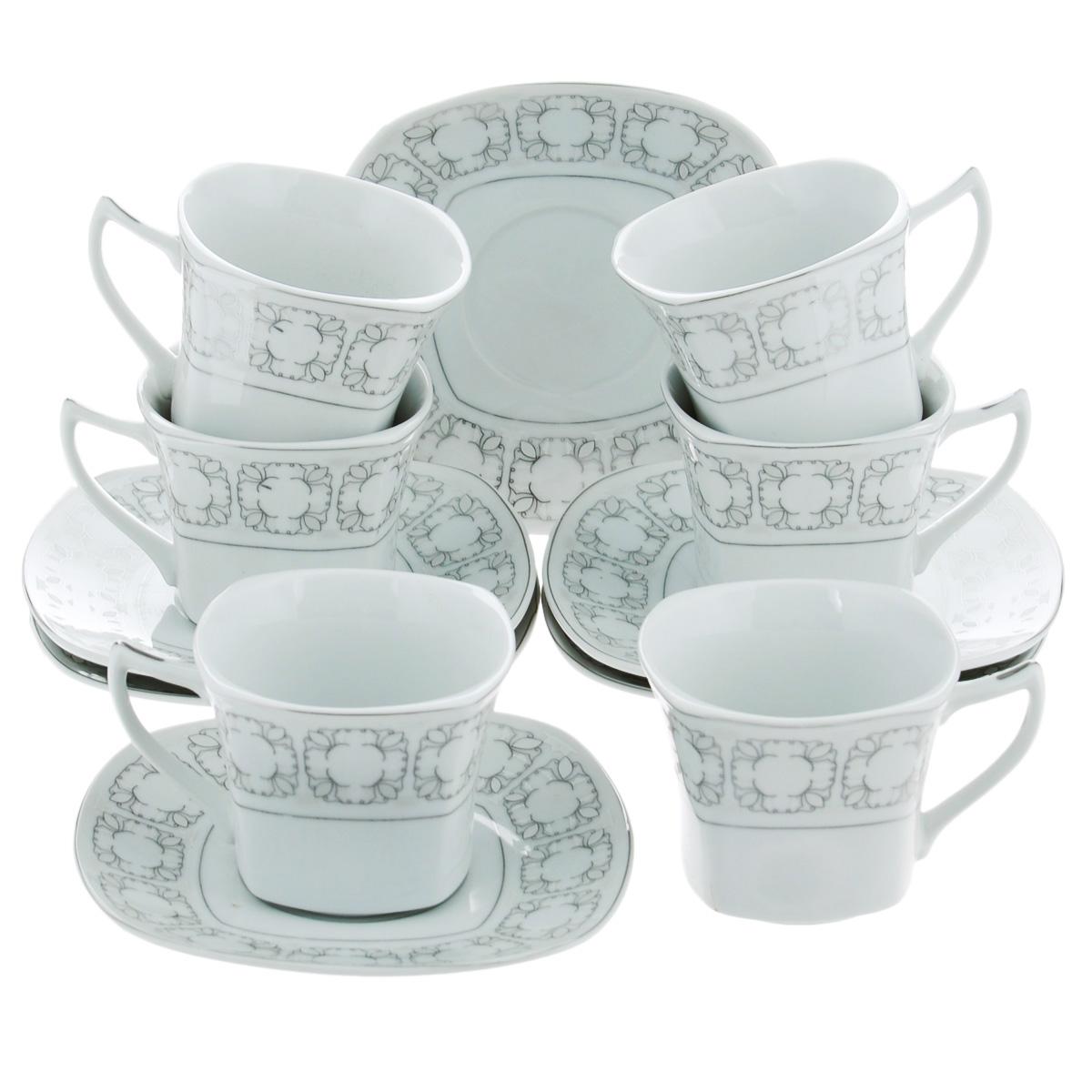 Набор чайный Bekker, 12 предметов. BK-5986BK-5986Чайный набор Bekker состоит из шести чашек и шести блюдец. Предметы набора изготовлены из высококачественного фарфора белого цвета и украшены серебристой эмалью. Изящный орнамент придает набору стильный внешний вид. Чайный набор роскошного дизайна украсит интерьер кухни. Прекрасно подойдет как для торжественных случаев, так и для ежедневного использования.Набор упакован в подарочную картонную коробку серебристого цвета. Подходит для мытья в посудомоечной машине. Объем чашки: 150 мл. Размер чашки (по верхнему краю): 8 см х 8 см. Высота чашки: 6,5 см. Размер блюдца: 14 см х 14 см.