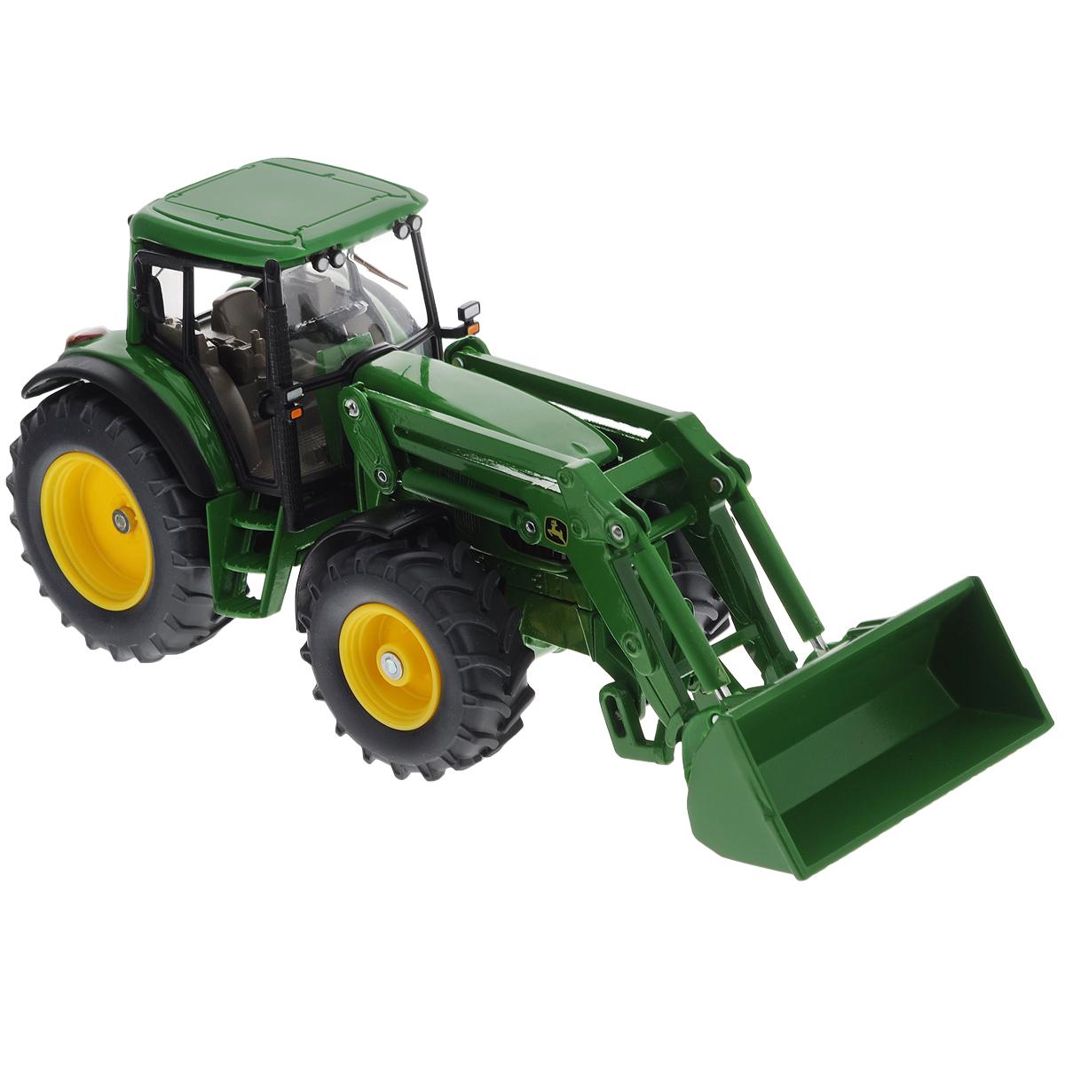 Siku Трактор с ковшом John Deere трактор tomy john deere зеленый 19 см с большими колесами звук свет
