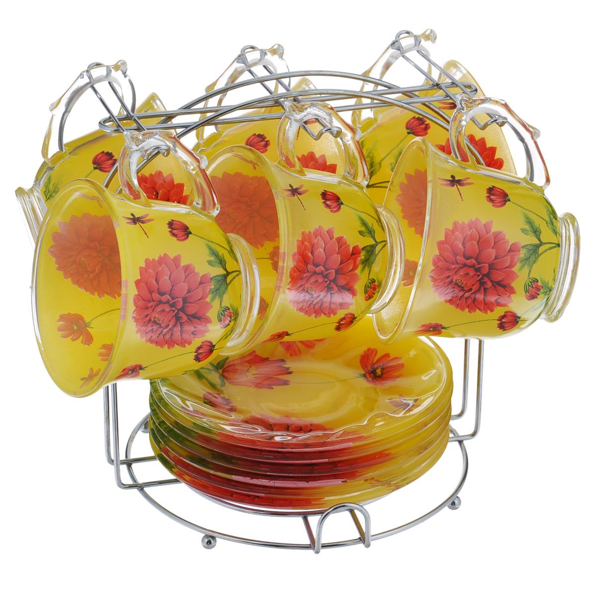 Набор чайный Bekker, 13 предметов. BK-5810BK-5810Чайный набор Bekker состоит из шести чашек и шести блюдец. Предметы набора изготовлены из высококачественного жаропрочного стекла и оформлены красочным цветочным рисунком. Блюдца круглой формы. В комплекте - металлическая хромированная подставка с шестью крючками для подвешивания кружек и подставкой для блюдец.Чайный набор яркого и в тоже время лаконичного дизайна украсит интерьер кухни и сделает ежедневное чаепитие настоящим праздником. Подходит для мытья в посудомоечной машине. Объем чашки: 220 мл. Диаметр чашки (по верхнему краю): 9 см. Высота чашки: 7,5 см. Диаметр блюдца: 13,8 см. Размер подставки: 18 см х 18 см х 19,5 см.