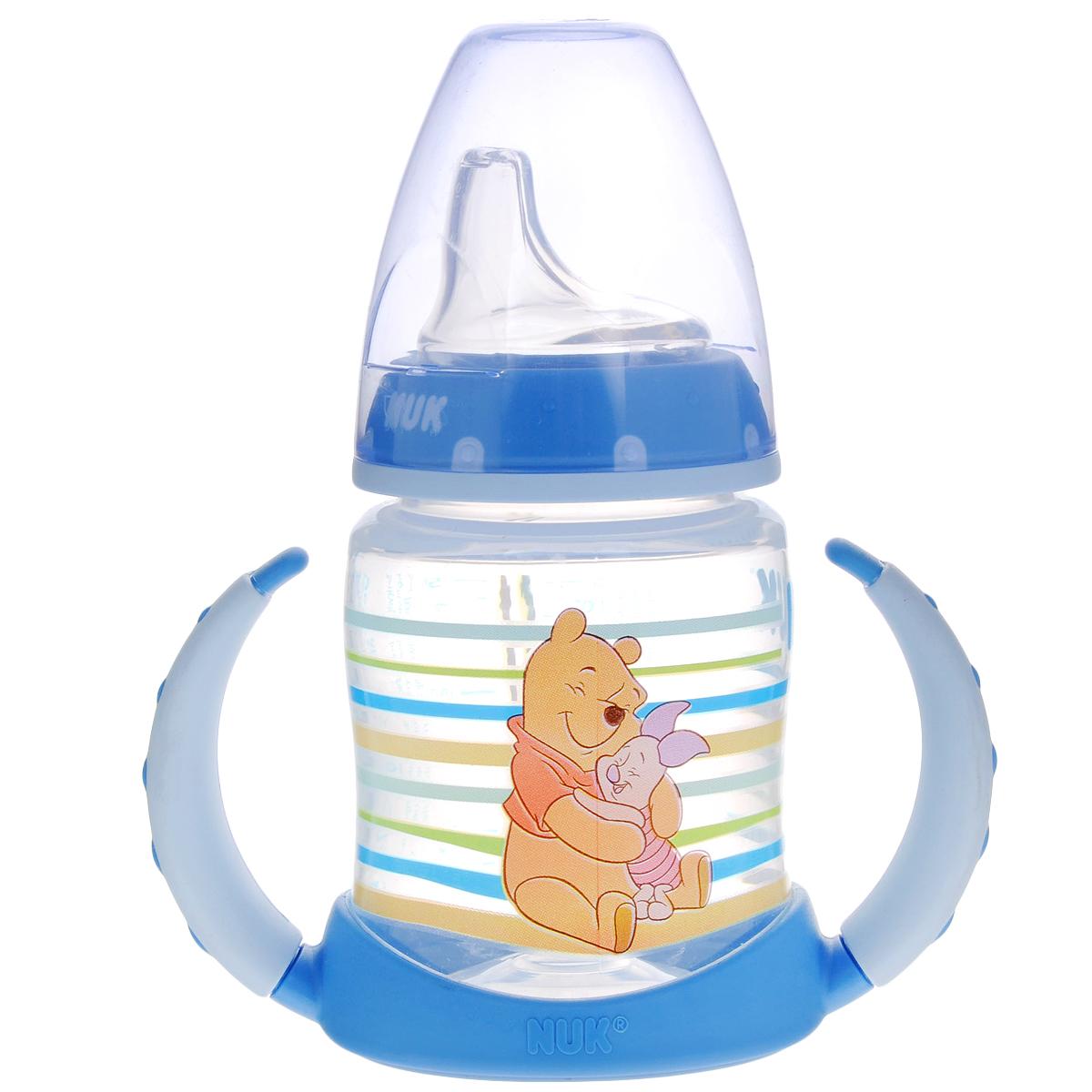 """Бутылочка обучающая для питья NUK """"Дисней. First Choice"""", с силиконовой насадкой, цвет: голубой, 150 мл, от 6 до 18 месяцев"""