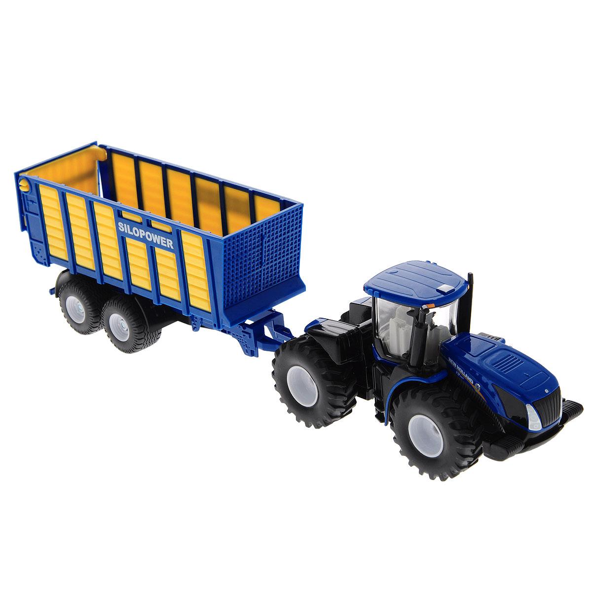 Siku Трактор New Holland T с прицепом siku внедорожник jeep wrangler с прицепом для перевозки лошадей