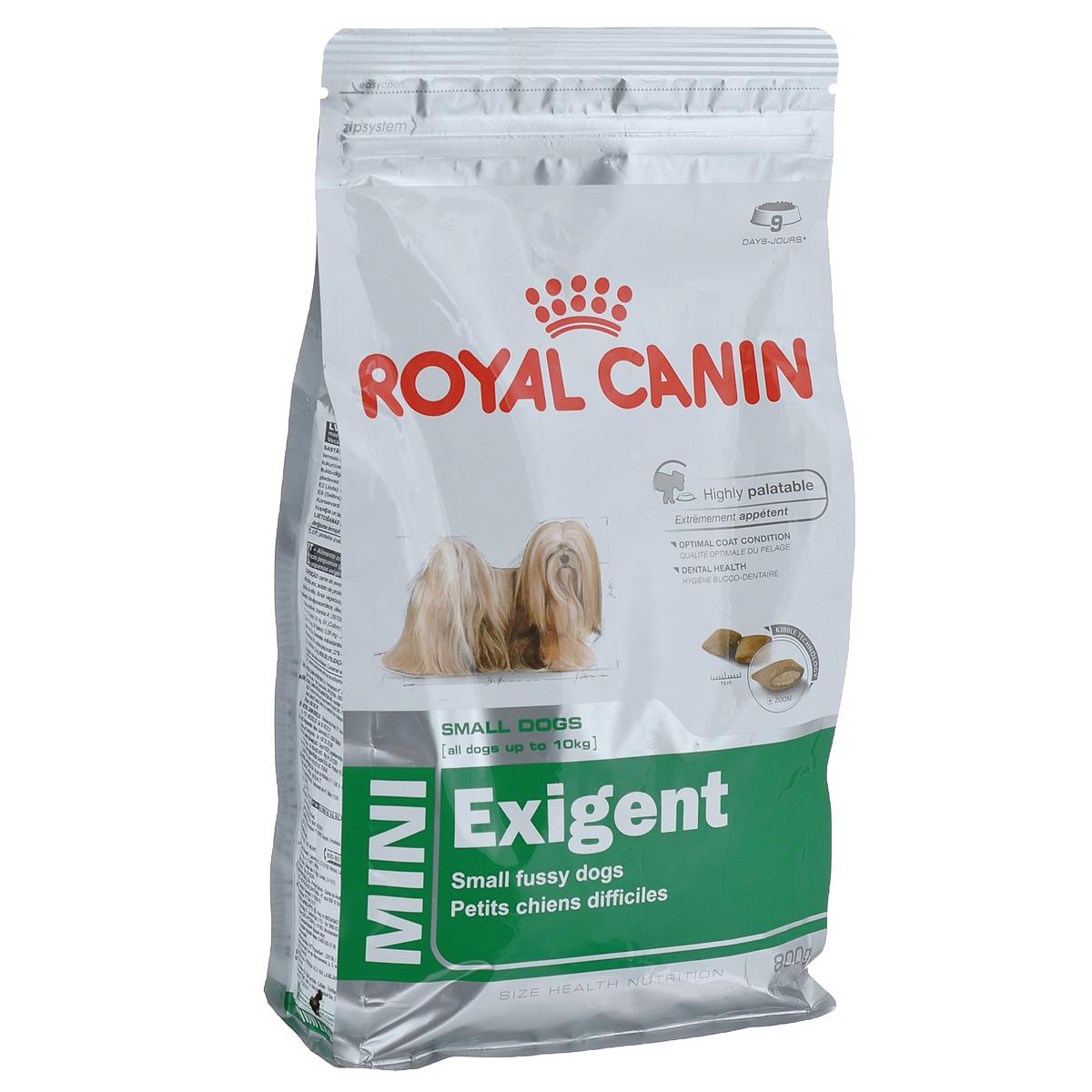 Корм сухой Royal Canin Mini Exigent, для собак мелких пород, привередливых в питании, 800 г313008Полнорационный сухой корм Royal Canin Mini Exigent для подходит собакам мелких размеров (вес взрослой собаки до 10 кг) старше 10 месяцев. Специальная технология изготовления крокет сочетает 2 вида текстур (хрустящую и мягкую), а также уникальные вкусовые добавки, что придется по вкусу даже самым привередливым собакам мелких размеров. Корм питает шерсть благодаря включению в состав корма серосодержащих аминокислот (метионин и цистин), жирных кислот Омега 6 и витамина А. Помогает замедлить образование зубного налета благодаря полифосфату натрия, который связывает кальций, содержащийся в слюне.Состав: дегидратированное мясо птицы, животные жиры, предварительно обработанная пшеничная мука, рис, изолят растительных белков L.I.P., гидролизат белков животного происхождения, кукурузная мука, растительная клетчатка, свекольный жом, рыбий жир, минеральные вещества, фруктоолигосахариды, масло огуречника аптечного 0,1%.Добавки в 1 кг: витамин А 29700 МЕ, витамин D3 800 МЕ, железо 45 мг, йод 4,5 мг, марганец 58 мг, цинк 175 мг, селен 0,09 мг, триполифосфат натрия 3,5 г, сорбат калия, пропилгаллат, БГА.Содержание питательных веществ: белки 30%, жиры 22%, минеральные вещества 4,1%, клетчатка пищевая 2,7%, EPA/DHA 2,5 г, медь 15 мг.Товар сертифицирован.Расстройства пищеварения у собак: кто виноват и что делать. Статья OZON Гид