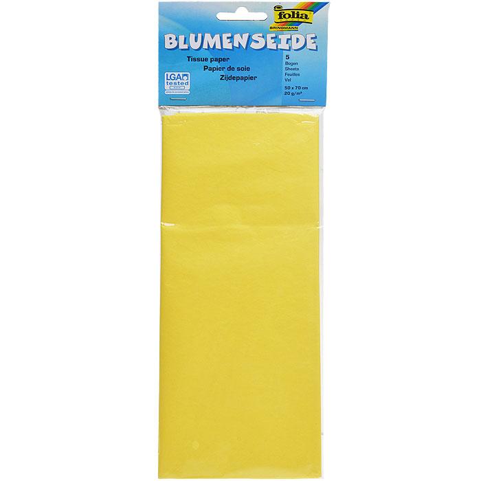 Бумага папиросная Folia, цвет: желтый (12), 50 см х 70 см, 5 листов. 7708123_127708123_12Бумага папиросная Folia - это великолепная тонкая и эластичная декоративная бумага. Такая бумага очень хороша для изготовления своими руками цветов и букетов с конфетами, топиариев, декорирования праздничных мероприятий. Также из нее получается шикарная упаковка для подарков. Интересный эффект дает сочетание мягкой полупрозрачной фактуры папиросной бумаги с жатыми и матовыми фактурами: креп-бумагой, тутовой и различными видами картона. Бумага очень тонкая, полупрозрачная - поэтому ее можно оригинально использовать в декоре стекла, светильников и гирлянд. Достаточно большие размеры листа и богатая цветовая палитра дают простор вашей творческой фантазии. Размер листа: 50 см х 70 см.Плотность: 20 г/м2.