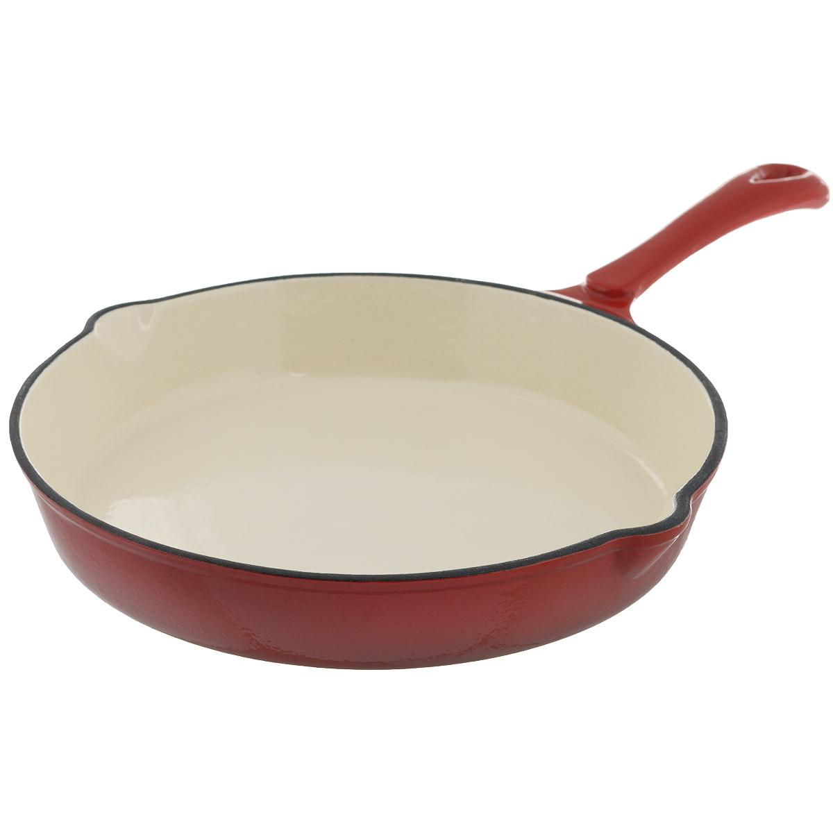 Сковорода чугунная Mayer & Boch, цвет: красный. Диаметр 25,5 см. 2205122051Сковорода Mayer & Boch выполнена из высококачественного эмалированного чугуна. Чугун - один из лучших материалов, который равномерно распределяет тепло и удерживает его. Он устойчив к механическим повреждениям и невероятно прочен. Эмаль защищает чугун от коррозии и появления ржавчины, не впитывает запахи, облегчает уход за посудой. Посуда из эмалированного чугуна идеальна для запекания, жарки, тушения, варки, томления, также может использоваться для маринования. Сковорода имеет и внутреннее, и внешнее эмалированное покрытие. Внешнее покрытие цветное, что придает посуде эстетичный внешний вид. Изделие оснащено двумя носиками для удобного слива жидкости. Длинная ручка обеспечивает безопасное использование. Сковорода подходит для использования на всех типах плит, включая индукционные. Можно использовать в духовке, а также мыть в посудомоечной машине. Высота стенки: 4 см.Толщина стенки: 4 мм.Толщина дна: 4 мм.Длина ручки: 17 см.