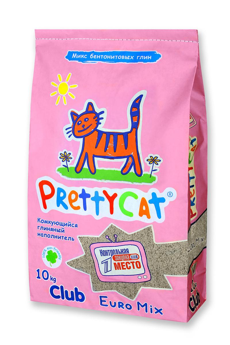 Наполнитель для кошачьих туалетов PrettyCat  Euro Mix , комкующийся, 10 кг. 620291