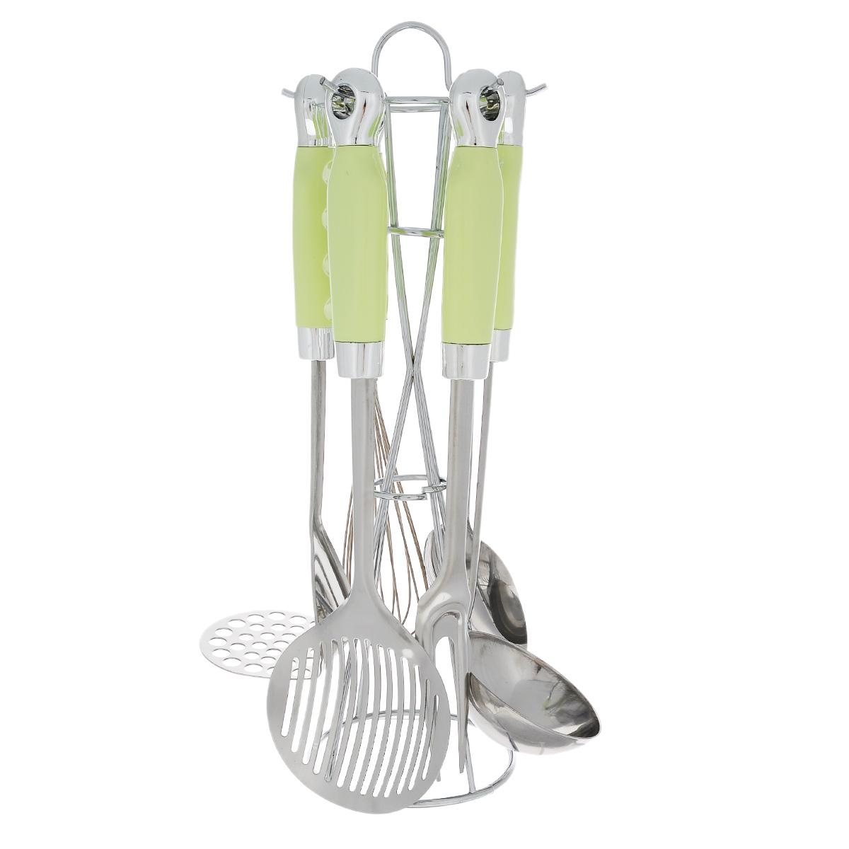 Набор кухонных принадлежностей Bekker Koch, цвет: салатовый, 7 предметов. BK-420BK-420Набор кухонных принадлежностей Bekker Koch изготовлен из высококачественной нержавеющей стали. Набор включает в себя: картофелемялку, половник, ложку, шумовку, вилку, венчик и подставку. Ручки изготовлены из жаропрочного пластика и оснащены отверстиями на конце, благодаря которым, вы сможете их подвесить на подставку или в любое для вас удобное место. Подставка выполнена из нержавеющей стали, имеет петельку, чтобы удобно было переставлять набор. Эксклюзивный дизайн, эстетичность и функциональность набора Bekker Koch позволят ему занять достойное место среди кухонного инвентаря.Можно мыть в посудомоечной машине.Длина половника: 32,5 см.Длина ложки: 32,5 см.Длина шумовки: 34,5 см.Длина вилки: 32,5 см.Длина картофелемялки: 29,5 см.Длина венчика: 30,5 см.Размер подставки (ДхШхВ): 11 см х 11 см х 36,5 см.