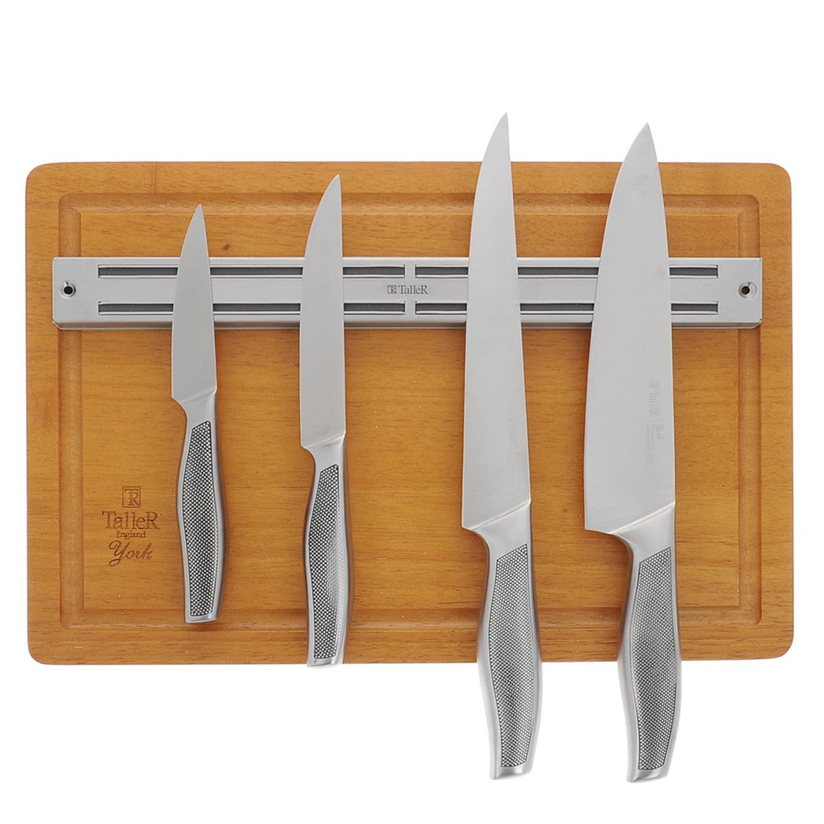 """Набор Taller """"Йорк"""" состоит из 4 ножей (нож поварской, нож для нарезки, нож универсальный и нож для  чистки), магнитной планки и разделочной доски. Ножи выполнены из коррозионной стали 420S45. Данная сталь  устойчива к коррозии, отличается прочностью и отсутствием вредных соединений при контакте с продуктами.  Режущая кромка лезвий устойчива к притуплению. Ножи отлично сбалансированы и удобно ложатся в руку.   В наборе 4 ножа:  - Поварской нож. Имеет тяжелую ручку, толстое, широкое и длинное лезвие с центрированным острием. Все  это позволяет рубить овощи, зелень, резать мороженое мясо, рыбу и птицу.  - Нож для нарезки. Нож с длинным, нешироким, но достаточно толстым лезвием. Используется для нарезки  сырого и вареного мяса, разделки курицы, рыбы. Им легко нарезать арбуз, дыню.  - Нож универсальный. Многофункциональный нож, подходит для нарезки овощей, фруктов, колбасы, сыра,  масла. Применяется для приготовления бутербродов и канапе.  - Нож для чистки. Нож с коротким прямым лезвием, им удобно снимать кожуру с любого фрукта или овоща.  В комплекте также имеется магнитная планка, которая позволит удобно и безопасно хранить ножи. Благодаря  магнитам, ножи надежно держатся на планке. Прямоугольная разделочная доска изготовлена из каучукового  дерева и оснащена желобками по краю для стока жидкости.  В наборе есть все необходимое для ежедневной нарезки любых продуктов.  Рекомендуется ручная мойка.  Длина лезвия поварского ножа: 20,5 см.  Общая длина поварского ножа: 33 см.  Длина лезвия ножа для нарезки: 21 см.  Общая длина ножа для нарезки: 33 см.  Длина лезвия универсального ножа: 14 см.  Общая длина универсального ножа: 25 см.  Длина лезвия ножа для чистки: 10 см.  Общая длина ножа для чистки: 21 см.  Размер магнитной планки: 34,5 см х 3,5 см.  Размер разделочной доски: 38 см х 26 см х 2 см."""