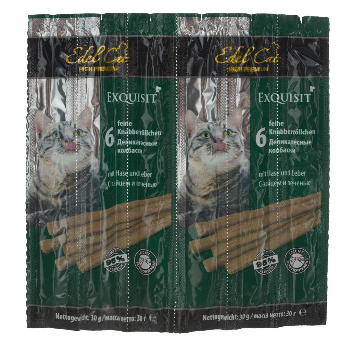 Колбаски жевательные для кошек Edel Cat, с зайцем и печенью, 30 г, 6 шт12823Жевательные колбаски Edel Cat используются в качестве лакомства и как дополнение к основному корму кошки старше 8 месяцев. На 95% состоят из свежего мяса с добавлением витаминно-минерального комплекса. Специальные рисочки на колбаске облегчат ее ломание. Противопоказано котятам, моложе восьми месяцев, кошкам с лишним весом, с сахарным диабетом, с заболеваниями почек или печени. Состав: мясо и мясопродукты (95%, в т.ч. 6% заяц, 6% печень), минеральные вещества. Технологические добавки: антиоксиданты,консерванты. Аналитический состав: сырой протеин 33,5%, влажность 28%, сырой жир 20%,сырая зола 10%, сырая клетчатка 2%. Вес: 30 г. Товар сертифицирован.