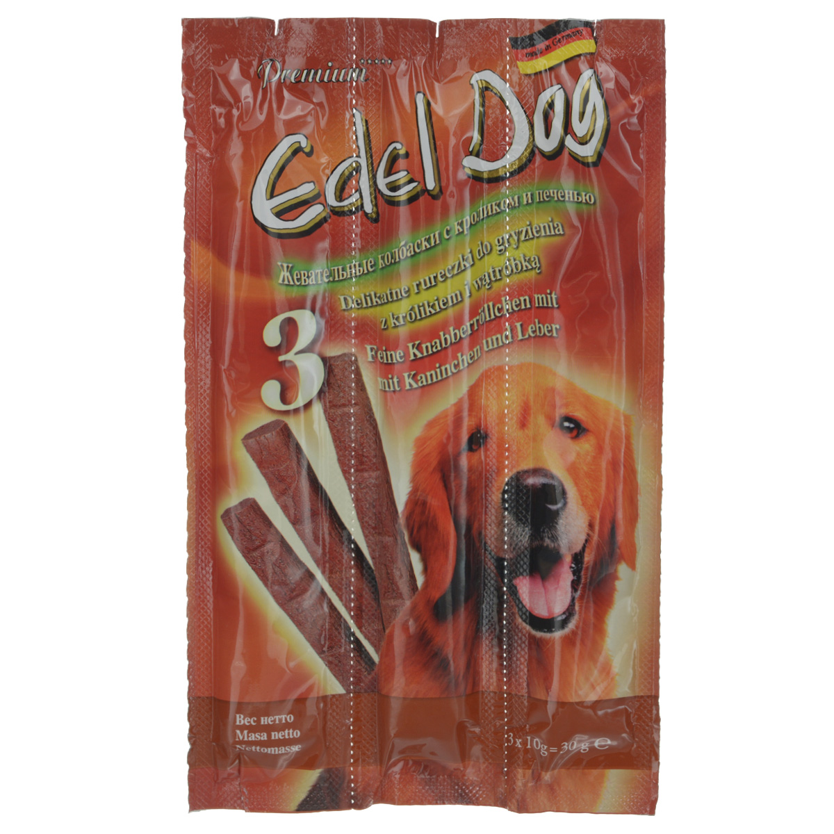 Колбаски жевательные Edel Dog для собак, с кроликом и печенью, 3 шт12826Жевательные колбаски Edel Dog - это лакомство для собак. Используются в качестве лакомства и в дополнение к основному корму. На 95% состоят из свежего мяса с добавлением витаминно-минерального комплекса.Состав: мясо и мясопродукты (90%, в т.ч. 6% кролика, 6% печени), минеральные вещества.Технологические добавки: антиоксиданты, консерванты.Аналитический состав: сырой протеин 35%, влажность 27%, сырой жир 21%, сырая зола 9%, сырая клетчатка 0,5%.Товар сертифицирован.Тайная жизнь домашних животных: чем занять собаку, пока вы на работе. Статья OZON Гид