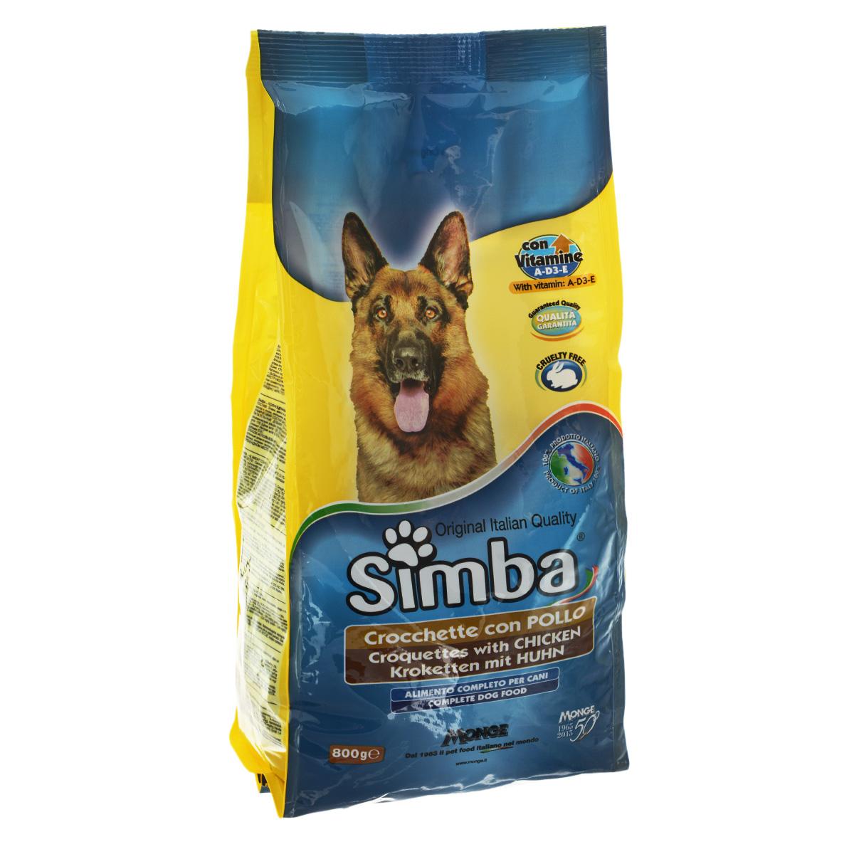 Корм сухой Monge Simba для взрослых собак, с курицей, 800 г70009836Сухой корм Monge Simba - это полноценный корм для собак с витаминами A, D3, E, которые способствуют укреплению здоровья и отличного состояния животных. Оптимальное содержание белка гарантируется наличием куриного мяса.Состав: злаки, мясо и мясопродукты (курица мин. 4,1%), побочные продукты растительного происхождения, масла и жиры, витамины, минеральные вещества. Анализ компонентов: белок 21%, масла и жиры 8%, сырая клетчатка 4,5%, сырая зола 9,5%.Витамины и добавки на 1 кг: витамин А 10000 МЕ, витамин D3 700 МЕ, витамин Е 50 мг, сульфат марганца 80 мг (марганец 25 мг), оксид цинка 170 мг (цинк 120 мг), сульфат меди 40 мг (медь 10 мг), сульфат железа 290 мг (железо 87 мг), селенит натрия 0,39 мг (селен 0,17 мг), йодат кальция 2,20 мг (йод 1,40 мг), антиоксиданты ЕЭС.Товар сертифицирован.