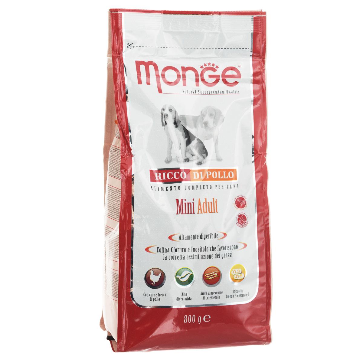 Корм сухой Monge для взрослых собак мелких пород, 800 г70004091Сухой корм Monge - это полнорационный корм, специально разработанный для ежедневного питания взрослых собак мелких пород с нормальной физической активностью. Благодаря своему сбалансированному белковому и энергетическому содержанию и рецептуре, богатой натуральными ингредиентами, ваши питомцы усваивают необходимые питательные вещества без накопления холестерина. Корм гарантирует оптимальное соотношение жирных кислот Омега-3 и Омега-6. Состав: куриное мясо (свежее мин. 10%, обезвоженное 26%), рис (мин. 26%), кукуруза, куриное масло, свекольный жом, овес, дрожжи, яичный крахмал, мука сельди, рыбий жир, экстракт Юкки Шидигера, цистин, морские водоросли, фруктоолигосахариды 330 мг/кг, маннан-олигосахариды 330 мг/кг, хондроитин сульфат 105 мг/кг, метилсульфонилметан 150 мг/кг, глюкозамин 150 мг/кг.Анализ: протеин 26%, масла и жиры 14%, сырая клетчатка 2,5%, сырая зола 6%,фосфор 1,34%, линолевая кислота 1,80%, Омега-6 2,52%, Омега-3 0,58%.Пищевые добавки, витамины: витамин А 19700 МЕ/кг, витамин D3 1350 МЕ/кг, витамин Е 126 мг/кг, витамин С 35 мг/кг, кальций 13,68 мг/кг, холина хлорид 192 мг/кг, хлорид калия 6,640 мг/кг, витамин B1 14 мг/кг, витамин B2 14 мг/кг, витамин В6 4 мг/кг, Витамин В12 0,08 мг/кг, биотин 0,26 мг/кг, L-карнитин 60 мг/кг, цинк 128 мг/кг, железо 80 мг/кг, марганец 30 мг/кг, медь 12 мг/кг, йод 0,80 мг/кг, аминокислоты (метионин 1560 мг/кг).Товар сертифицирован.
