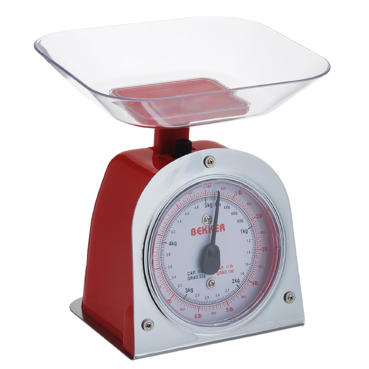 Весы кухонные Bekker Koch, цвет: красный, до 5 кгBK-2Весы кухонные Bekker Koch предназначены для взвешивания продуктов. Основание весов изготовлено из металла, а корпус из высококачественного пластика. Весы имеют регулятор мерной шкалы и съемную чашу, изготовленную из пластика. Весы выдерживают до 5 килограмм веса. Кухонные весы Bekker Koch придутся по душе каждой хозяйке и станут незаменимым аксессуаром на кухне.Размер весов (с учетом чаши): 13,5 см х 12 см х 19 см. Цена деления: 25 г. Максимальная нагрузка: 5 кг. Размер съемной чаши: 17,8 см х 15 см х 3,5 см.