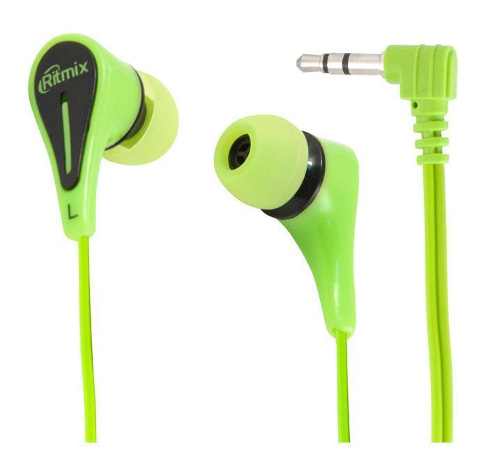 Ritmix RH-012, Green наушникиRH-012 GreenRitmix RH-012 – это портативные наушники-вкладыши с качественным сбалансированным звуком. Кабель стандартной длины штекером Г-образной формы