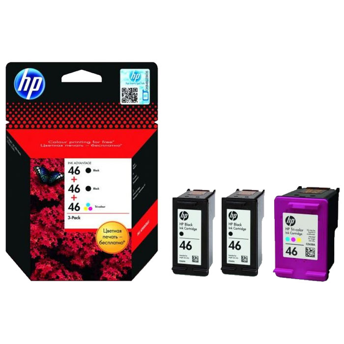 HP F6T40AE (46) набор струйных картриджей для Deskjet Ink Advantage 2020hc/2520hc for hp 122 black ink cartridge for hp 122 xl deskjet 1000 1050 2000 2050 3000 3050a 3052a printer