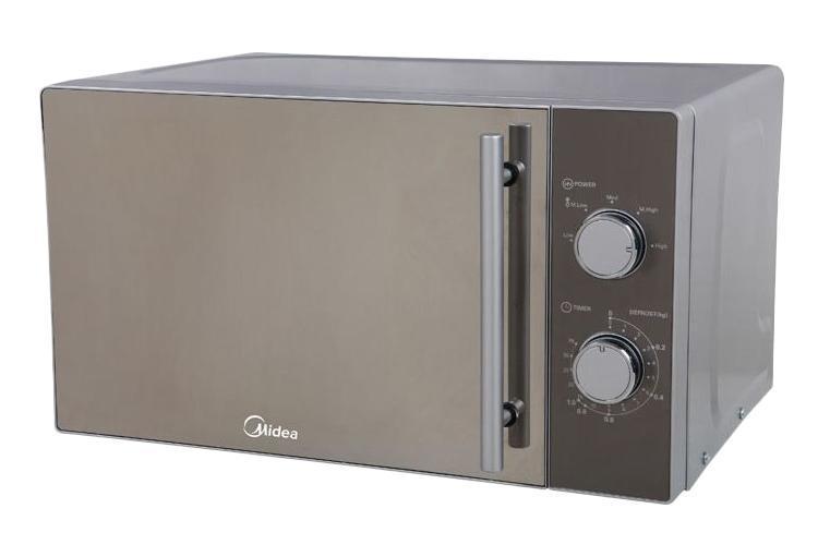 Midea MM720CMF микроволновая печьGE83 MRTSСВЧ Midea MM720CMF сочетает в себе простоту управления и функциональность. Эмалированное покрытие внутренней части легко чистится от жира и остатков пищи, не оставляя пятен и разводов.Микроволновая печь СВЧ Midea MM720CMF оснащена функцией размораживания продуктов перед приготовлением. Необычный дизайн с использованием серебристого цвета хорошо смотрится на современной кухне и сочетается с остальными бытовыми приборами.