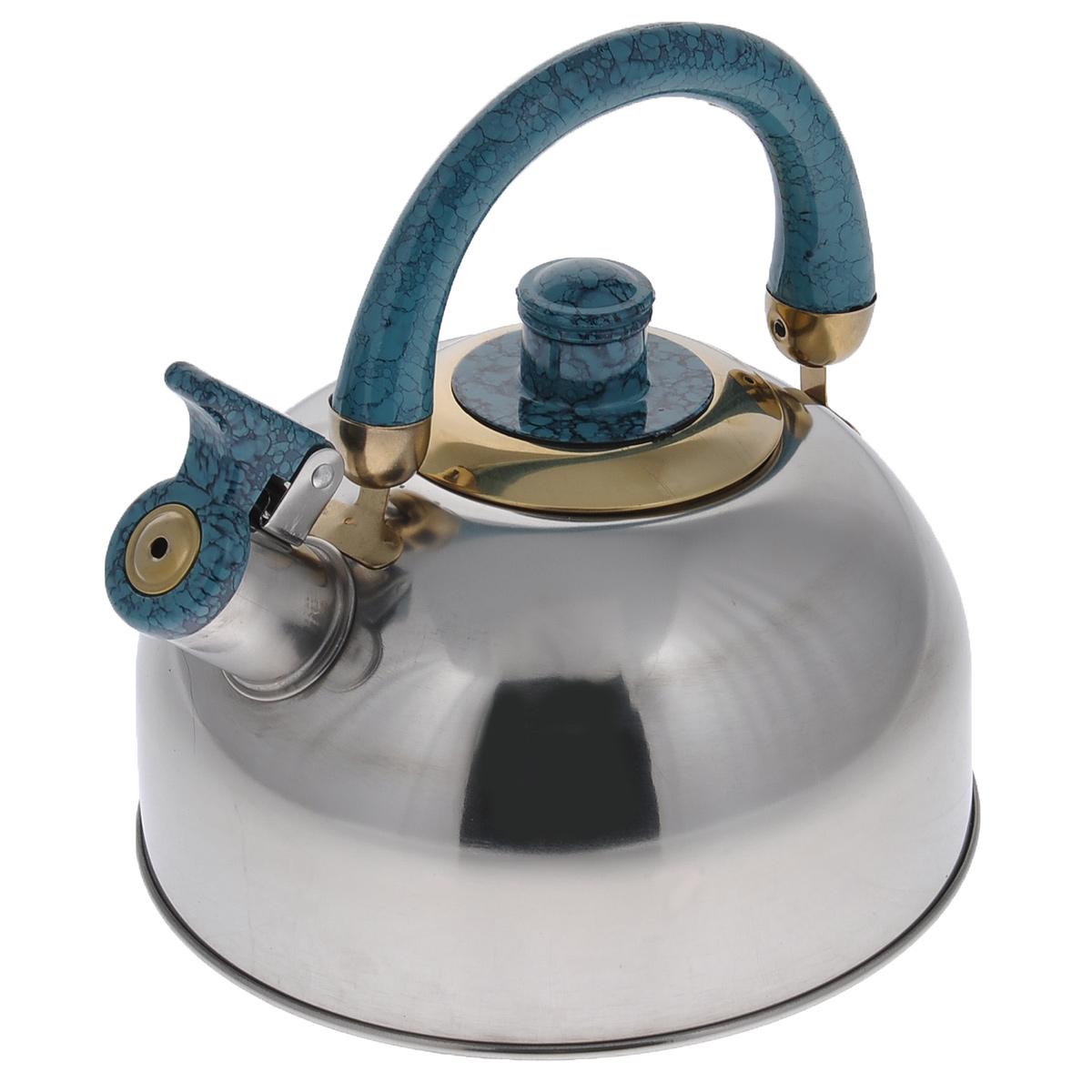 Чайник Mayer & Boch, со свистком, цвет: бирюзовый, 3 л. 16221622Чайник Mayer & Boch изготовлен из высококачественной нержавеющей стали с зеркальной полировкой, что делает его весьма гигиеничным и устойчивым к износу при длительном использовании. Гладкая и ровная поверхность существенно облегчает уход за посудой. Выполненный из качественных материалов чайник при кипячении сохраняет все полезные свойства воды. Носик чайника имеет откидной свисток, звуковой сигнал которого подскажет, когда закипит вода. Крышка, свисток и ручка выполнены из бакелита.Классический дизайн чайника Mayer & Boch дополнит любую кухню. Подходит для использования на всех типах кухонных плит, кроме индукционные. Высота чайника (с учетом ручки): 20 см. Высота чайника (без учета ручки и крышки): 10,5 см. Диаметр основания чайника: 18,5 см. Диаметр по верхнему краю: 8,5 см.