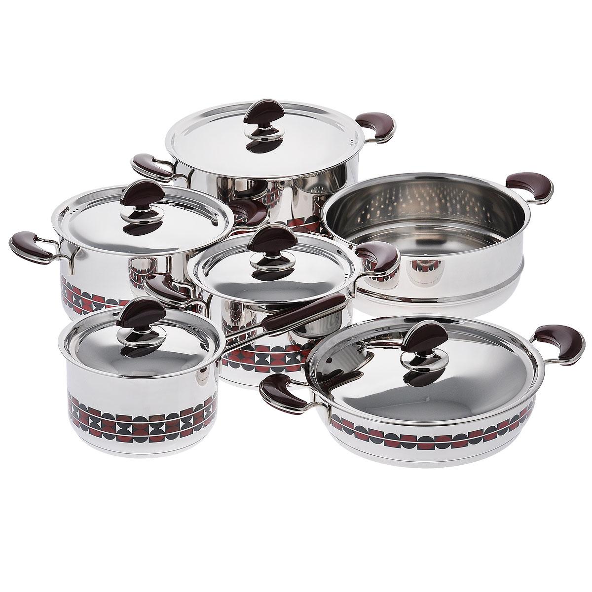 Набор посуды Kitchen-Art EX Pot, 11 предметовZH3000Набор посуды Kitchen-Art EX Pot состоит из четырех кастрюль, ковша и дуршлага-вставки. Изделия выполнены из нержавеющей стали «Премиум-ЛЮКС» (Южная Корея). Материал обладает высокой стойкостью к коррозии и кислотам. Прочность, долговечность и надежность этого материала, а также первоклассная обработка обеспечивают практически неограниченный запас прочности. Зеркальная полировка придает посуде привлекательный внешний вид.Дно посуды с трехслойным напылением. Идеально ровная внутренняя поверхность облегчает процесс чистки.Посуда оснащена удобными металлическими ручками с пластиковыми вставками, которые не нагреваются в процессе приготовления пищи. Крышки изготовлены из нержавеющей стали с пластиковыми ручками. Крышки имеют отверстия для выпуска пара.Набор посуды Kitchen-Art EX Pot - это модный европейский дизайн, обтекаемые линии и формы. Все изделия имеют специальный рисунок в стиле LUXURY. Каждое изделие упаковано в индивидуальную подарочную упаковку.Можно использовать на газовых, электрических, галогенных, стеклокерамических, индукционных плитах. Можно мыть в посудомоечной машине. Объем кастрюль: 2,5 л, 2,5 л, 4 л, 7 л. Диаметр кастрюль: 18 см, 20 см, 24 см, 24 см. Высота стенок кастрюль: 12 см, 12 см, 6,5 см, Диаметр дуршлага-вставки: 24 см. Высота стенки дуршлага-вставки: 10 см. Объем ковша: 2,1 л. Диаметр ковша: 16 см. Длина ручки ковша: 15,5 см. Высота стенки ковша: 10,5 см. Толщина стенки: 3 мм. Толщина дна: 5 мм.