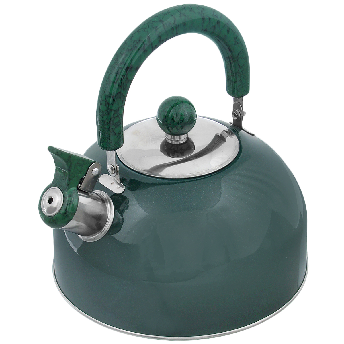 Чайник Mayer & Boch Modern со свистком, цвет: зеленый, 2 л. МВ-3226МВ-3226Чайник Mayer & Boch Modern изготовлен из высококачественной нержавеющей стали. Гладкая и ровная поверхность существенно облегчает уход. Он оснащен удобной нейлоновой ручкой, которая не нагревается даже при продолжительном периоде нагрева воды. Носик чайника имеет насадку-свисток, что позволит вам контролировать процесс подогрева или кипячения воды. Выполненный из качественных материалов чайник Mayer & Boch Modern при кипячении сохраняет все полезные свойства воды.Чайник пригоден для использования на всех типах плит, кроме индукционных. Можно мыть в посудомоечной машине. Диаметр чайника по верхнему краю: 8,5 см. Диаметр основания: 19 см. Высота чайника (без учета ручки и крышки): 10 см.