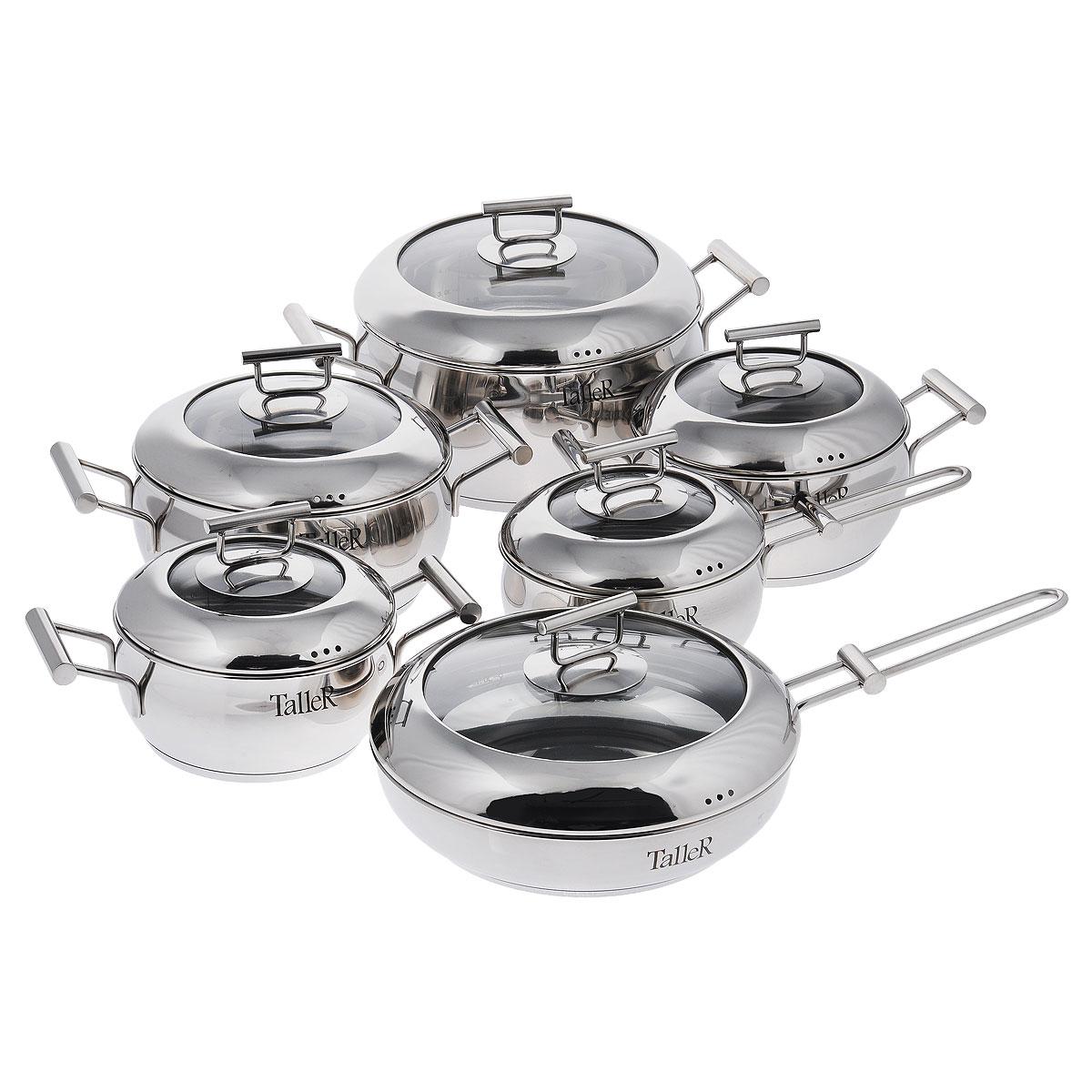 """Набор посуды Taller """"Робертс"""" состоит из четырех кастрюль разного объема с крышками, сковороды с крышкой, ковша с крышкой. Кастрюли, сковорода и ковш изготовлены из высококачественной нержавеющей стали 18/10 с внутренней и внешней зеркальной полировкой. Удобные отметки литража на внутренней поверхности посуды позволяют не использовать при приготовлении дополнительную мерную посуду.  Капсулированное дно с алюминиевой вставкой обеспечивает идеальное распределение тепла.  Крышки из жаропрочного стекла и нержавеющей стали позволяет следить за процессом приготовления, не открывая крышки. Надежное крепление ручек гарантирует безопасное использование.   Подходит для всех типов плит, включая индукционные. Не использовать в духовом шкафу. Можно мыть в посудомоечной машине.   УВАЖАЕМЫЕ КЛИЕНТЫ!  Обращаем ваше внимание на тот факт, что объем кастрюль указан максимальный, с учетом полного наполнения до кромки. Шкала на внутренней стенке кастрюль имеет меньший литраж. Высота стенок кастрюль: 11 см, 9,2 см, 8,5 см, 7,5 см.  Ширина кастрюль (с учетом ручек): 34,5 см, 31 см, 29 см, 27 см. Диаметр кастрюль: 25 см, 20 см, 18 см, 16 см. Диаметр дна кастрюль: 21 см, 17 см, 15 см, 13 см. Объем кастрюль: 5 л, 2,9 л, 2,1 л, 1,5 л. Высота стенки сковороды: 5 см.  Диаметр сковороды: 24 см. Диаметр дна сковороды: 18,5 см. Длина ручки сковороды: 19 см. Объем сковороды: 1,9 л. Высота стенки ковша: 7,5 см.  Диаметр ковша: 16 см. Диаметр дна ковша: 13 см. Длина ручки ковша: 15,5 см. Объем ковша: 1,5 л. Толщина стенки: 0,8 мм.  Толщина дна: 5,3 мм."""