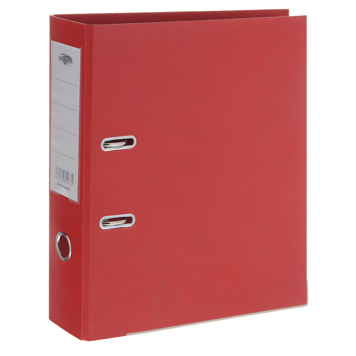 Папка-регистратор Centrum, ширина корешка 75 мм, цвет: красныйПР4_10641Папка-регистратор Centrum пригодится в каждом офисе и доме для хранения больших объемов документов. Внешняя сторона папки выполнена из плотного картона с двусторонним ПВХ-покрытием, что обеспечивает устойчивость к влаге и износу. Нижняя кромка папки защищена от истирания металлической окантовкой. Папка-регистратор оснащена надежным арочным механизмом крепления бумаги. Круглое отверстие в корешке папки облегчит ее извлечение с полки, а прозрачный карман со съемной этикеткой позволяет маркировать содержимое. Ширина корешка 7,5 см.