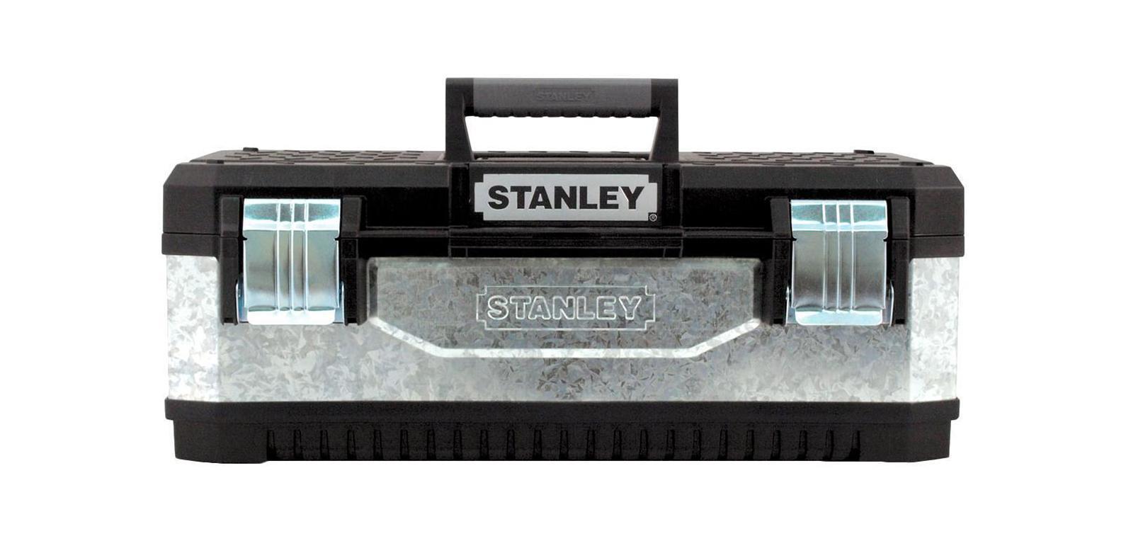 Ящик для инструмента Stanley, 201-95-618Ящик для инструмента профессиональный Stanley металлопластмассовый гальванизированный. - Одна длинная металлическая петля для усиления конструкции и возможности переноски большого веса - Большие прочные металлические с защитой от коррозии замки - Эргономичная ручка из двух материалов - Вместительный металлический корпус 3-х наиболее востребованных размеров - V-образный паз в крышке ящика для удобства расположения детали при пилении - Переносной лоток для транспортировки инструмента и мелких деталей - Отверстия в замках для возможности использования навесного замка для максимальной защиты инструмента. Характеристики: Материал: пластик, металл. Размеры ящика: 48 см х 24 см х 16 см. Размеры лотка:38 см х 23 см х 3 см. Глубина ящика:16 см. Размеры упаковки:49,7 см х 29,3 см х 22,2 см.