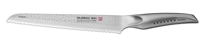 Нож для хлеба Global Sai. Right Side, длина лезвия 23 смSAI-05Нож Global Sai имеет полностью обновленный эргономичный дизайн ручки, учитывающий положение большого пальца, что позволяет уменьшить усилия при резке. Привлекательная двусторонняя отделка лезвия, выполненная специальным электромолотком, имеет не только декоративную функцию - получившиеся таким образом воздушные карманы, позволяют идеально нарезать продукты, и не допускают прилипания пищи к лезвию.Отличительной чертой ножа Global является его рукоятка и уникальная бесшовная конструкция. Рукоятка и лезвие изготовлены из одного, цельного полотна нержавеющей стали, что делает такой нож максимально гигиеничным и прочным. На нем не скапливается грязь, и его очень легко мыть. Покрытие рукоятки специальными ямочками-впадинами, обеспечивает удобный и надежный захват.Еще одной важной отличительной характеристикой ножа является его идеальная балансировка. Полая ручка ножа заполнена песком, количество которого точно рассчитано, чтобы обеспечить наиболее оптимальное соотношение веса лезвия и рукоятки. Этот метод позволяет добиться максимально точной балансировки.Не рекомендуется использование в посудомоечной машине.