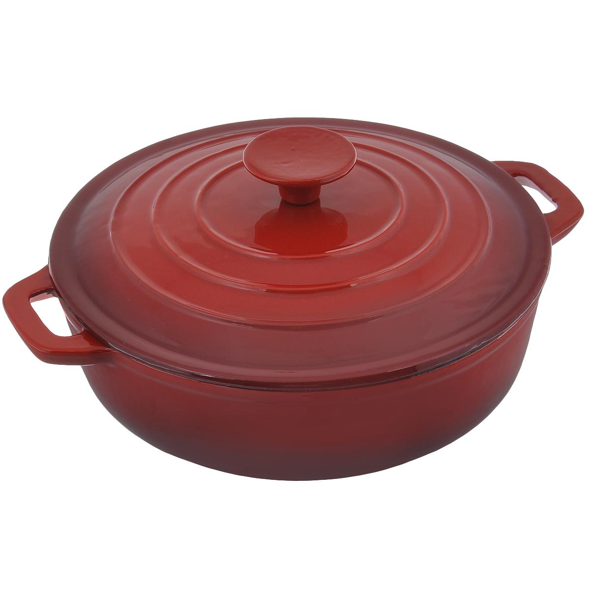 Казан Mayer & Boch с крышкой, с керамическим покрытием, цвет: красный. Диаметр 24 см. 2050720507Казан Mayer & Boch, изготовленный из чугуна, идеально подходит для приготовления вкусных тушеных блюд. Он имеет внутреннее антипригарное керамическое и внешнее эмалированное покрытия. Чугун является традиционным высокопрочным, экологически чистым материалом. Причем, чем дольше и чаще вы пользуетесь этой посудой, тем лучше становятся ее свойства. Высокая теплоемкость чугуна позволяет ему сильно нагреваться и медленно остывать, а это в свою очередь обеспечивает равномерное приготовление пищи. Чугун не вступает в какие-либо химические реакции с пищей в процессе приготовления и хранения, а плотное покрытие - безупречное препятствие для бактерий и запахов. Пища, приготовленная в чугунной посуде, благодаря экологической чистоте материала не может нанести вред здоровью человека. Казан оснащен двумя удобными ручками. Крышка изготовлена из чугуна. Она плотно прилегает к краю казана, сохраняя аромат блюд. Нельзя мыть в посудомоечной машине. Высота стенки: 6,5 см. Толщина стенки: 4 мм. Толщина дна: 5 мм. Ширина казана (с учетом ручек): 29 см.